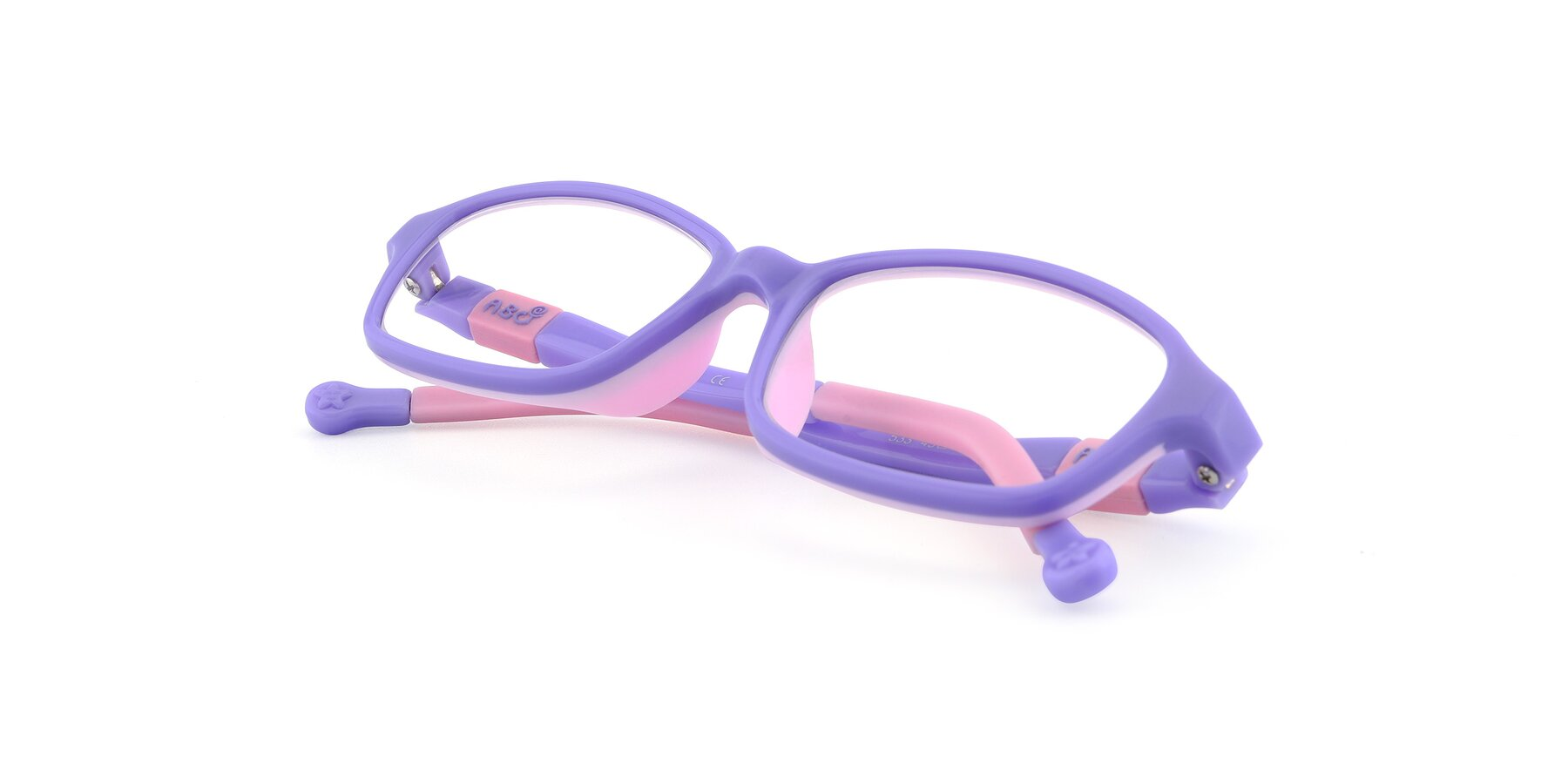 View of 533 in Purple-Pink with Clear Eyeglass Lenses