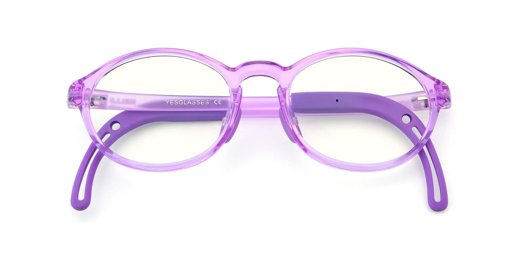 Folded Front of 8373 in Tranparent Purple with Clear Blue Light Blocking Lenses