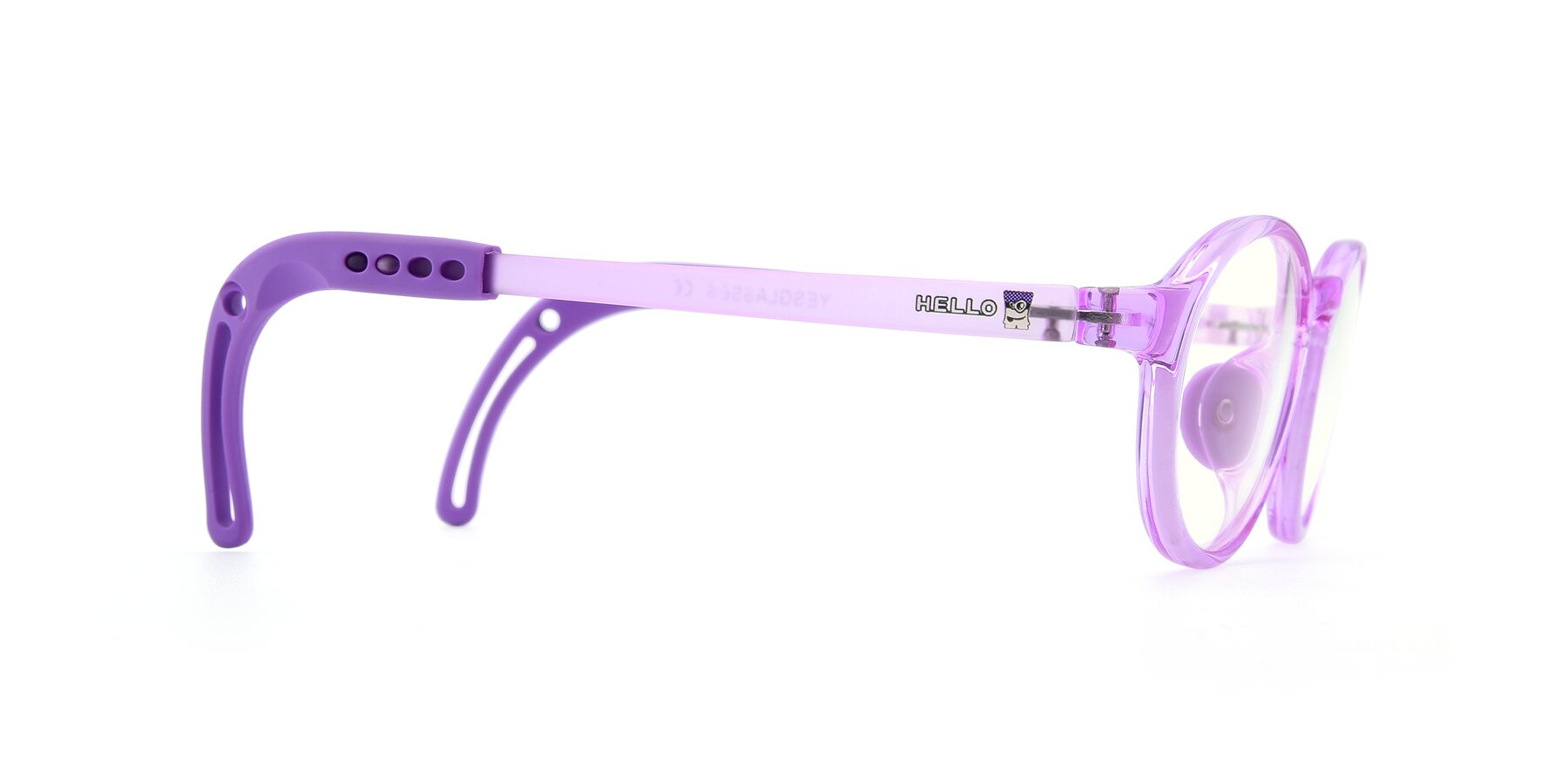 Side of 8373 in Tranparent Purple with Clear Blue Light Blocking Lenses