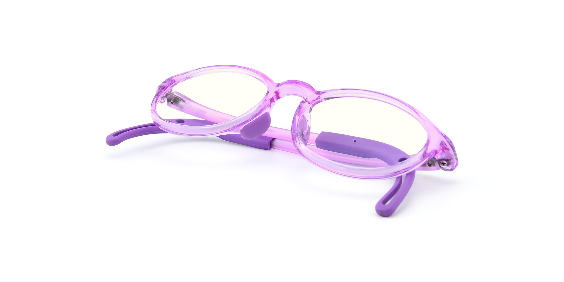 View of 8373 in Tranparent Purple with Clear Blue Light Blocking Lenses