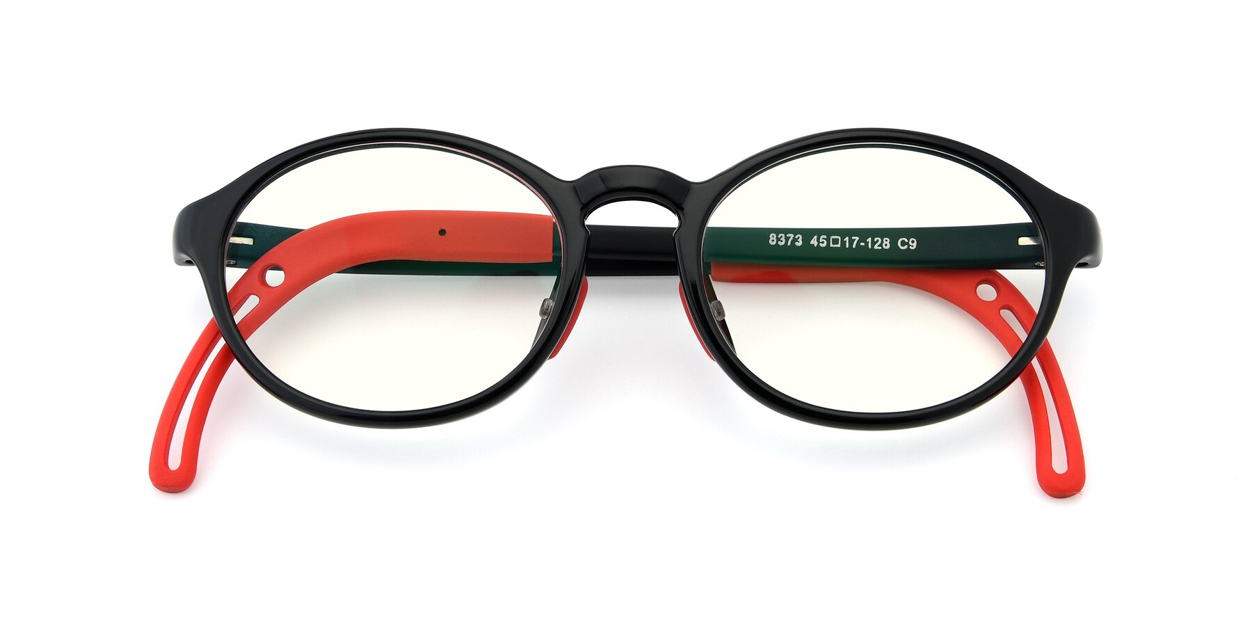 Folded Front of 8373 in Black-Red with Clear Blue Light Blocking Lenses