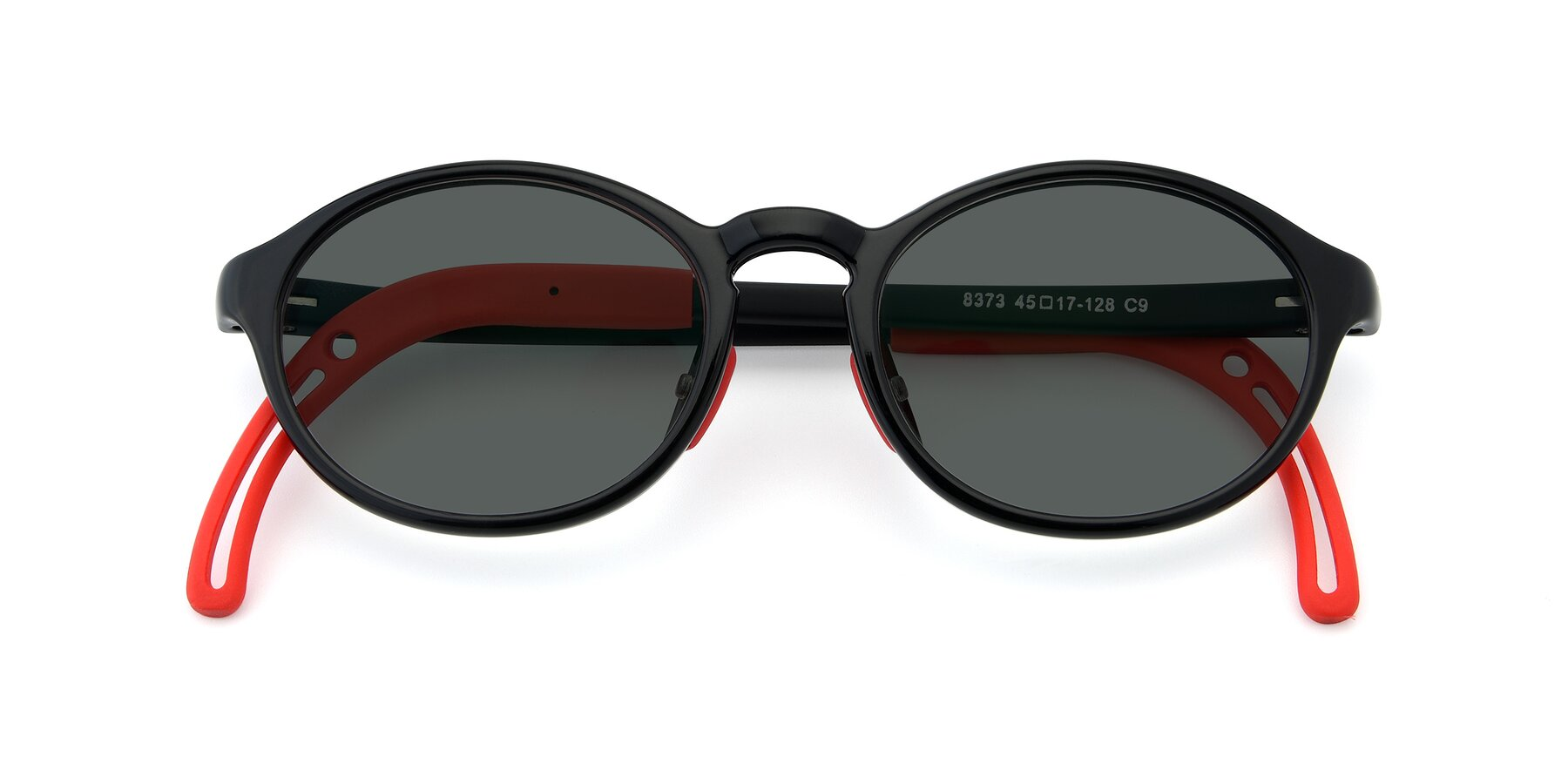 Folded Front of 8373 in Black-Red with Gray Polarized Lenses