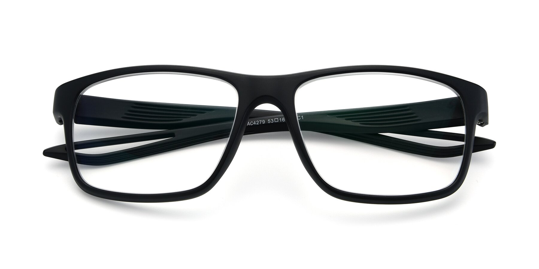 Folded Front of AC4279 in Matte Black with Clear Eyeglass Lenses