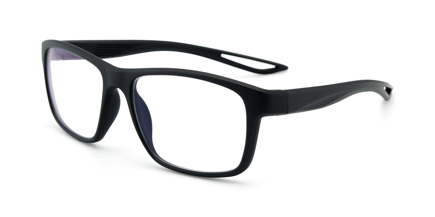 Angle of AC4279 in Matte Black with Clear Eyeglass Lenses