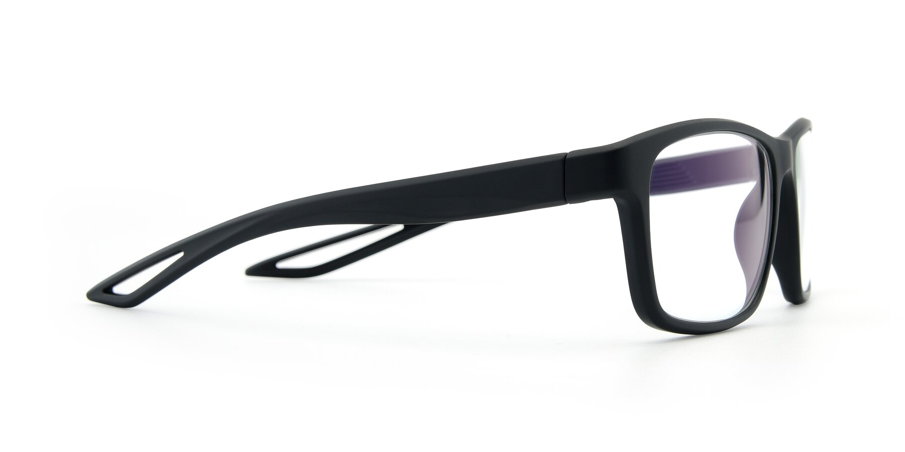 Side of AC4279 in Matte Black with Clear Eyeglass Lenses