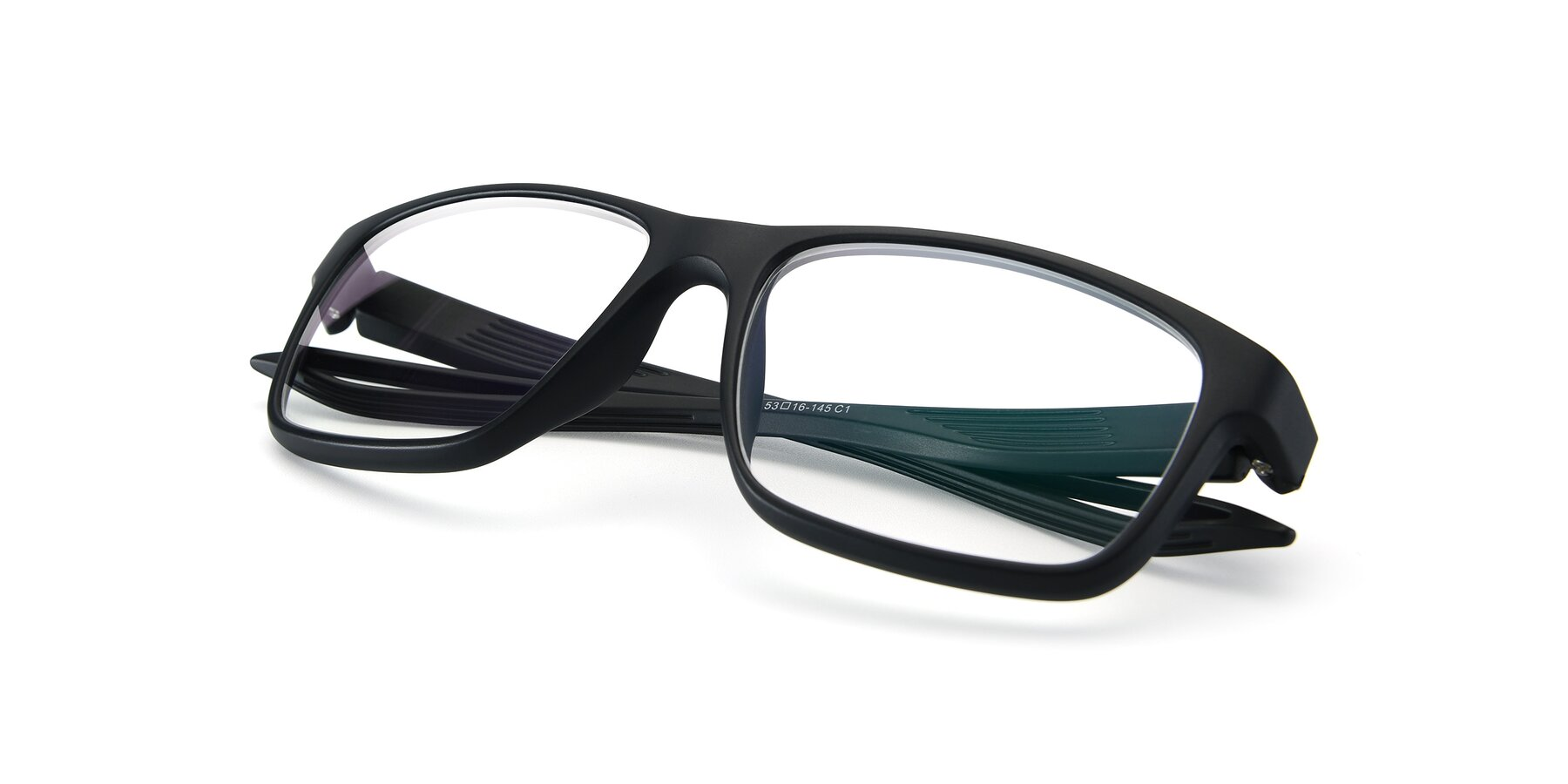 View of AC4279 in Matte Black with Clear Eyeglass Lenses