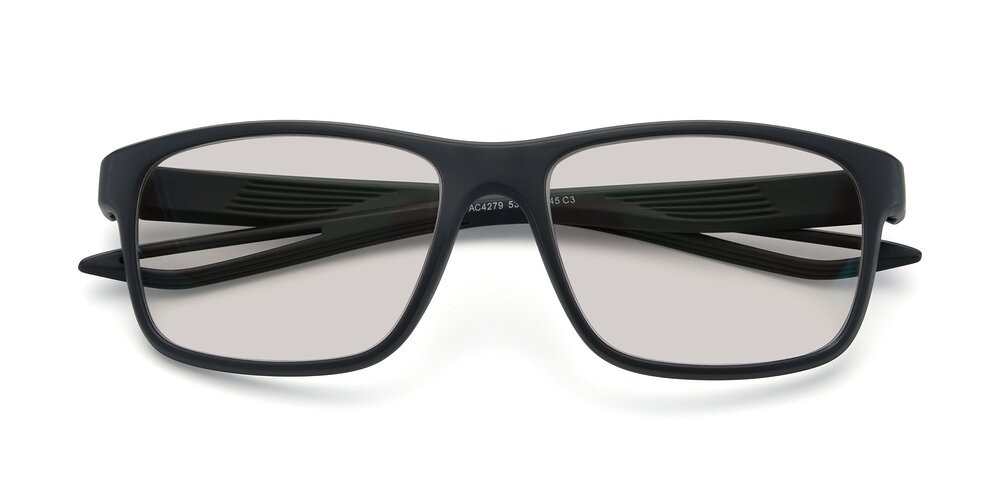 Matte Gray Wrap Around TR90 Square Tinted Sunglasses With Light Brown Sunwear Lenses