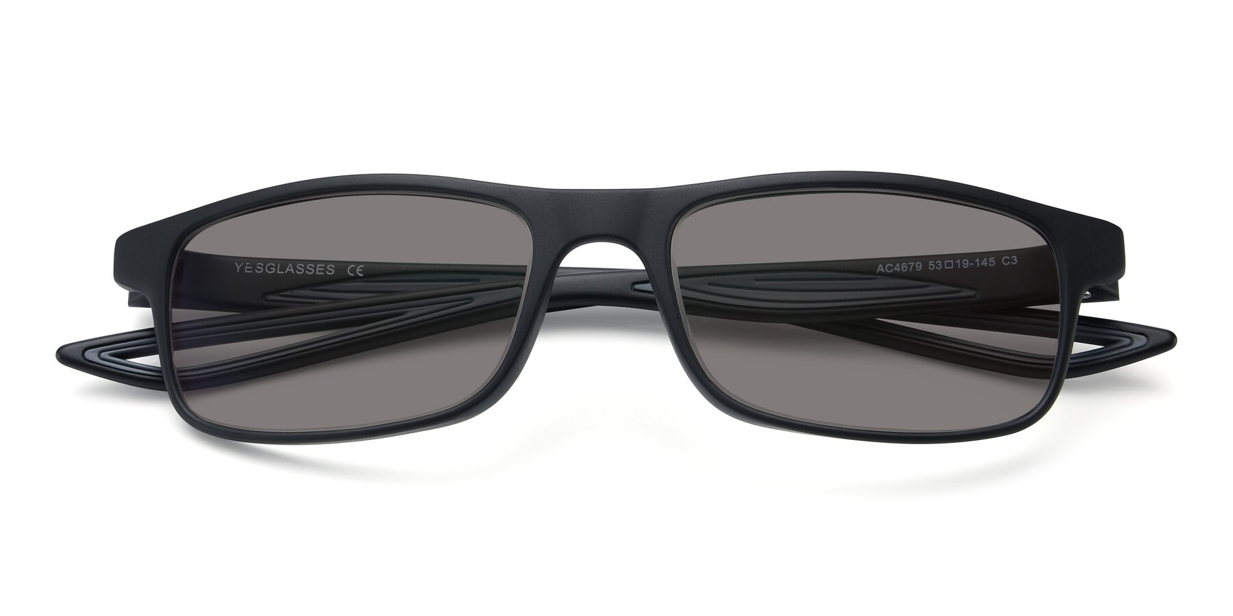 Folded Front of AC4679 in Matte Black-Gray with Medium Gray Tinted Lenses