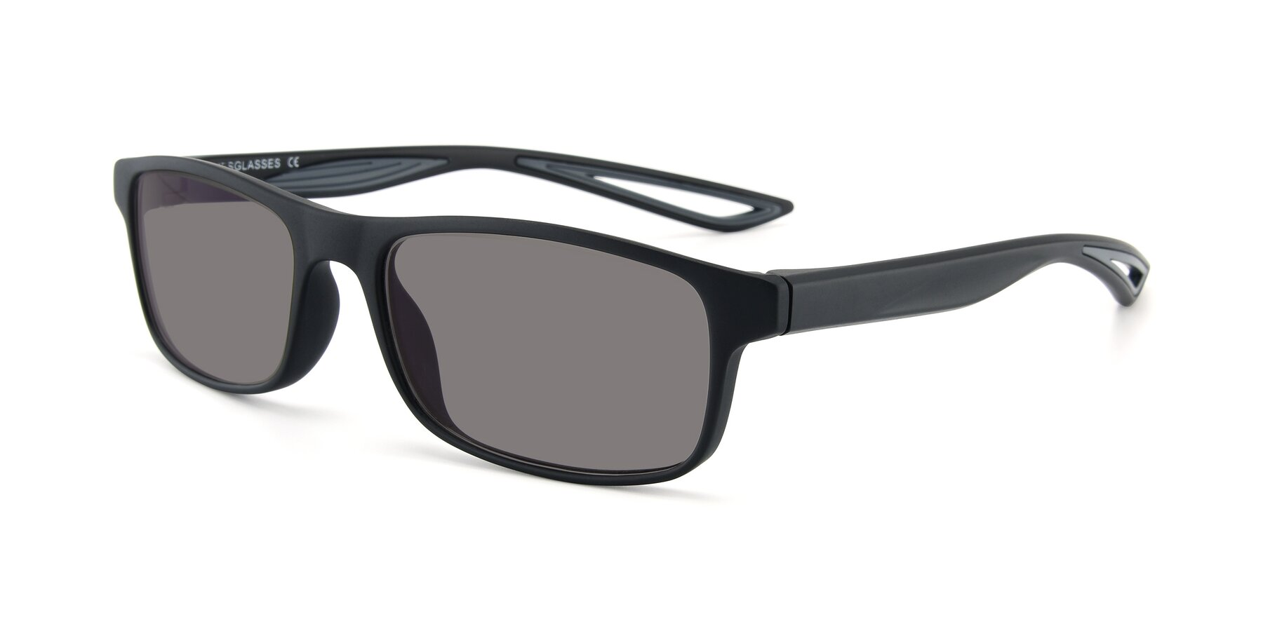 Angle of AC4679 in Matte Black-Gray with Medium Gray Tinted Lenses