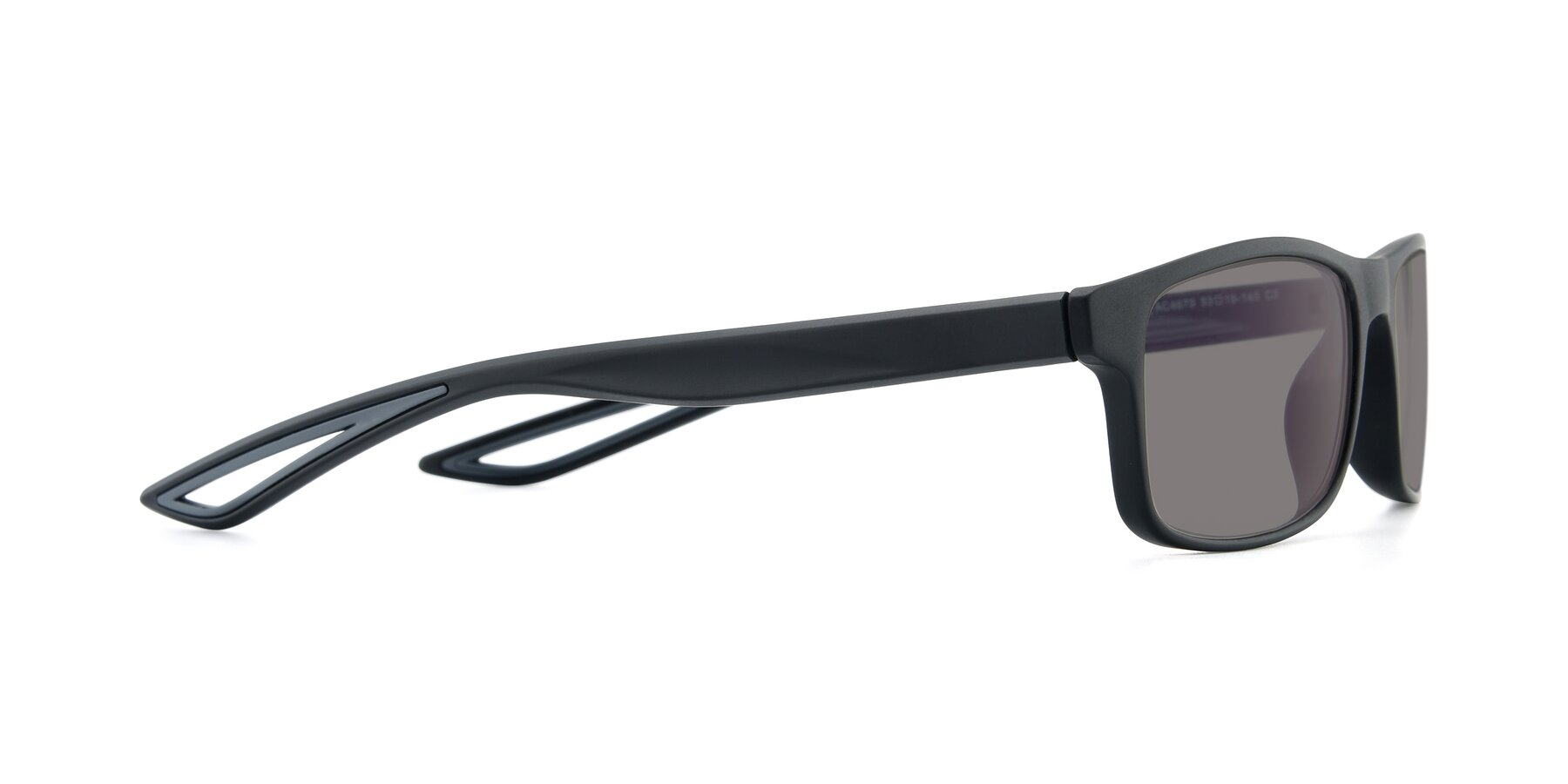 Side of AC4679 in Matte Black-Gray with Medium Gray Tinted Lenses