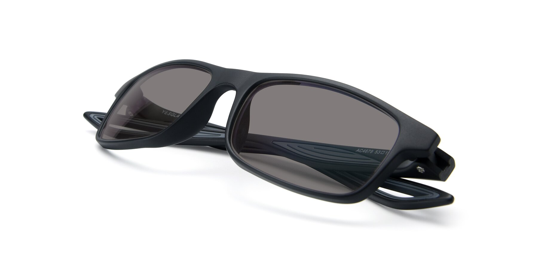 View of AC4679 in Matte Black-Gray with Medium Gray Tinted Lenses