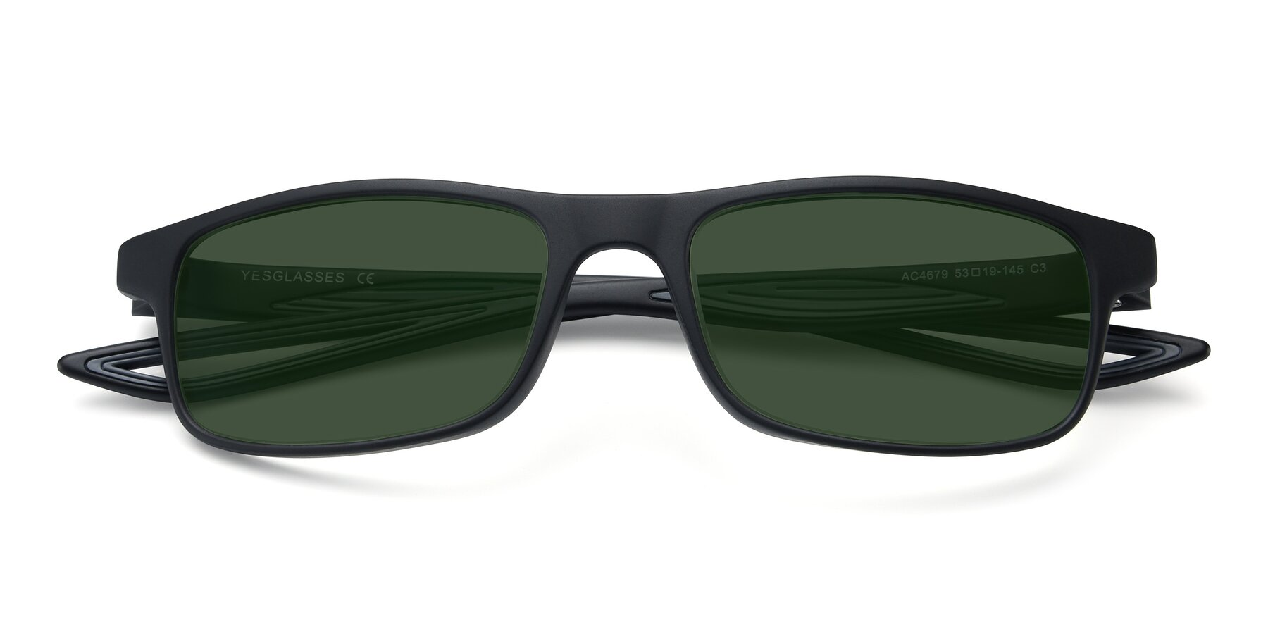Folded Front of AC4679 in Matte Black-Gray with Green Tinted Lenses