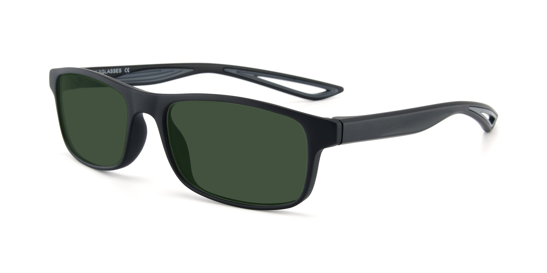 Angle of AC4679 in Matte Black-Gray with Green Tinted Lenses