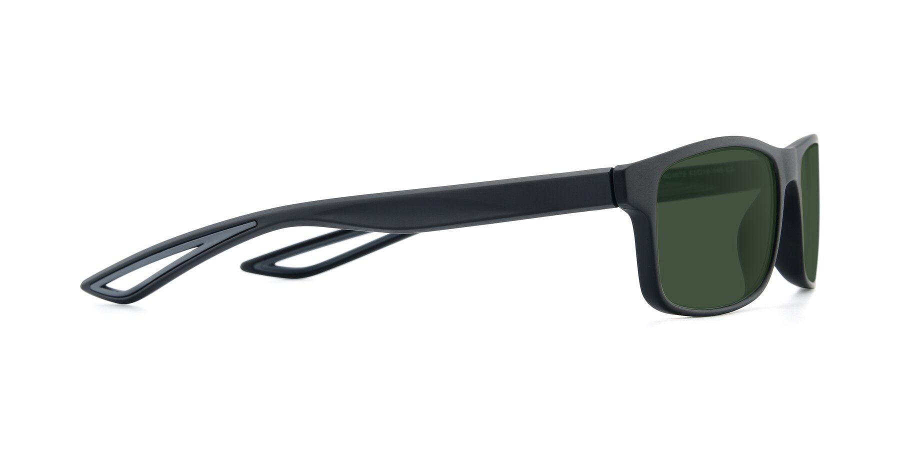 Side of AC4679 in Matte Black-Gray with Green Tinted Lenses