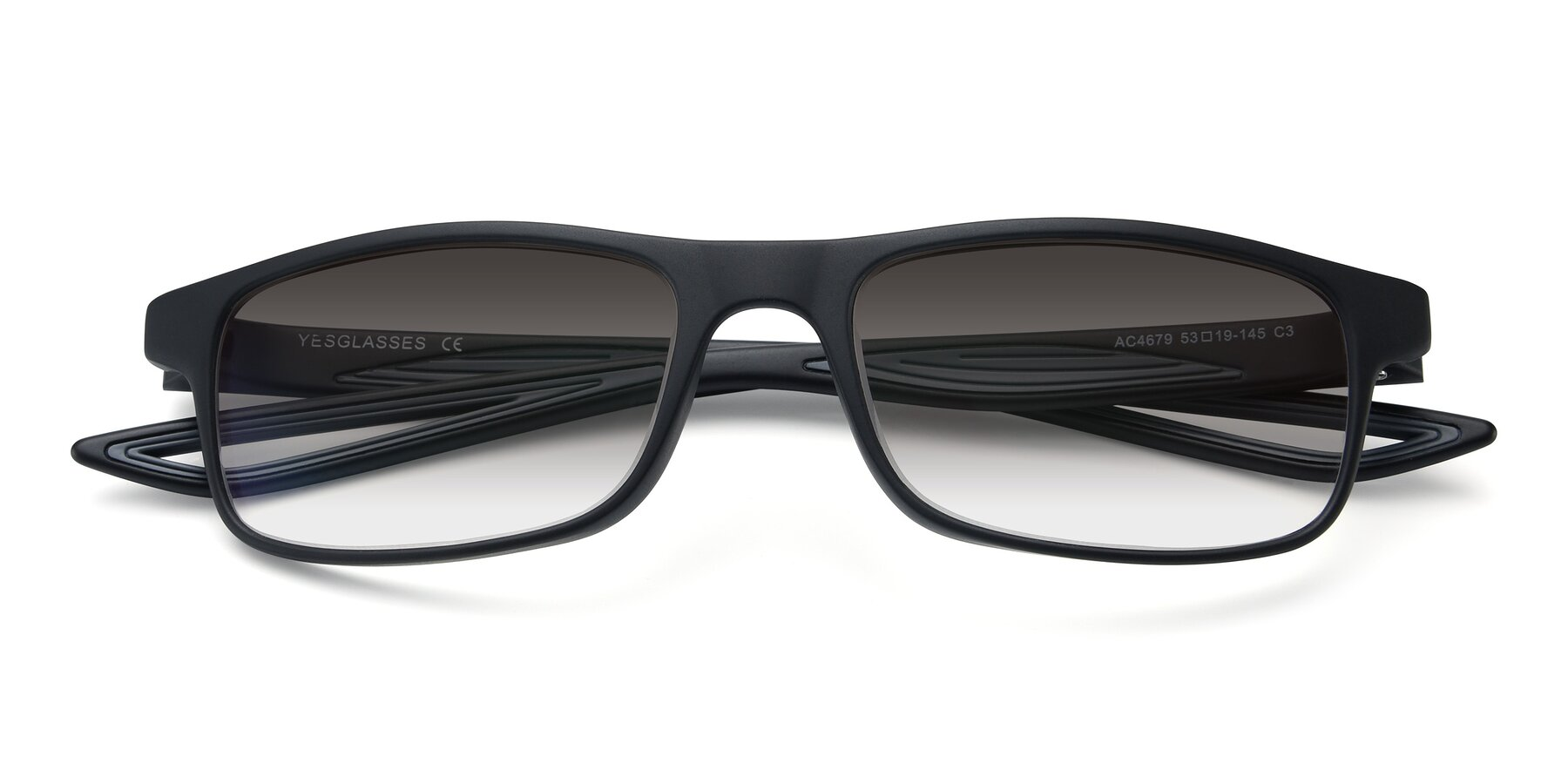 Folded Front of AC4679 in Matte Black-Gray with Gray Gradient Lenses