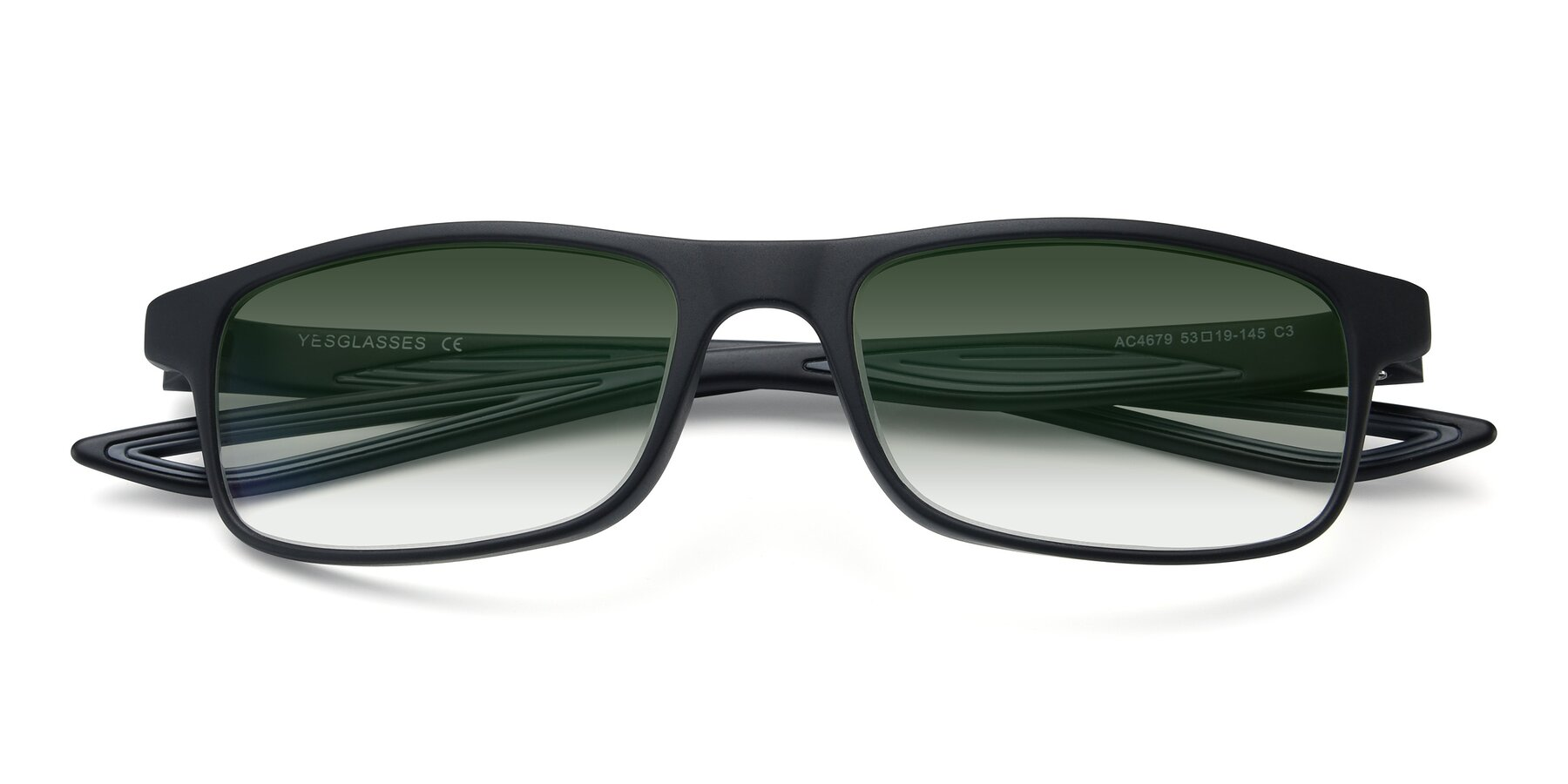 Folded Front of AC4679 in Matte Black-Gray with Green Gradient Lenses