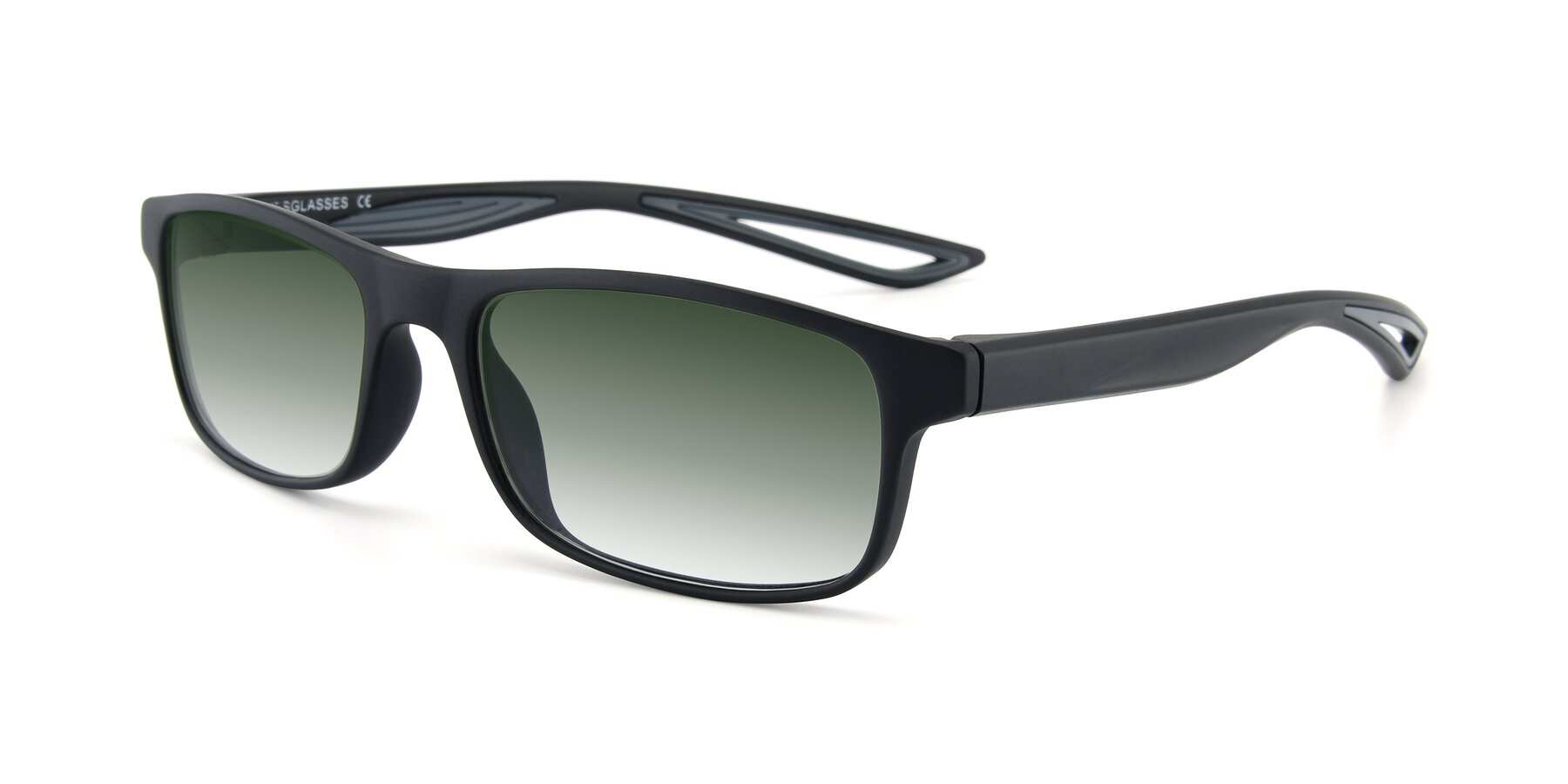 Angle of AC4679 in Matte Black-Gray with Green Gradient Lenses