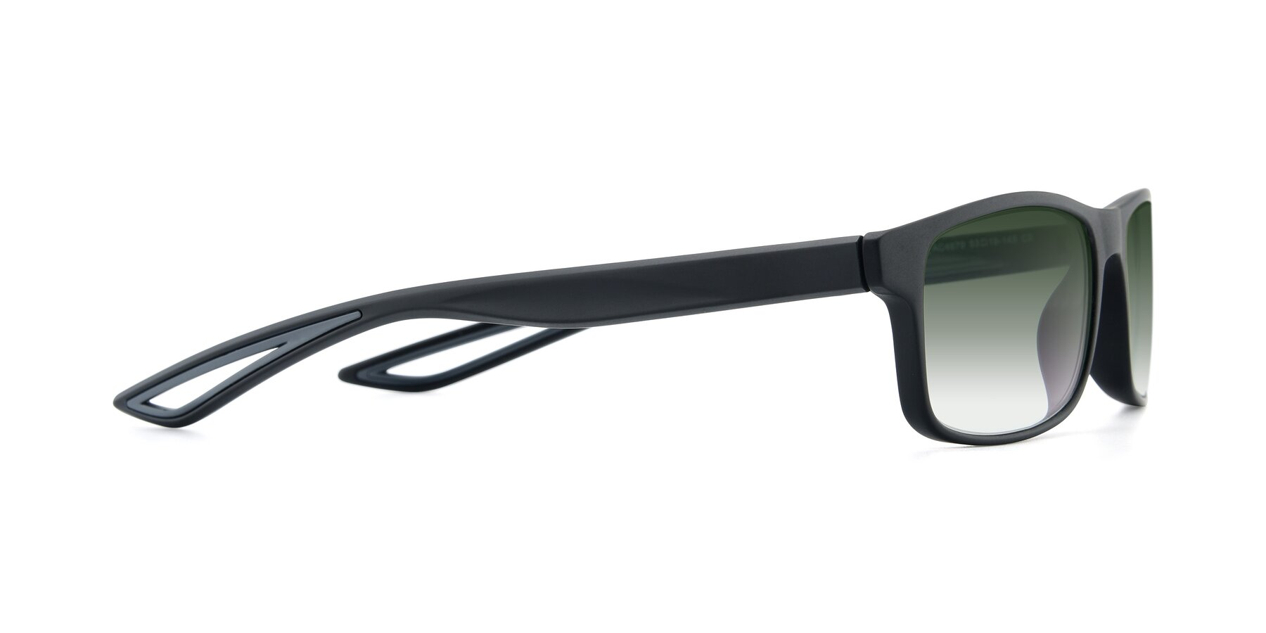 Side of AC4679 in Matte Black-Gray with Green Gradient Lenses