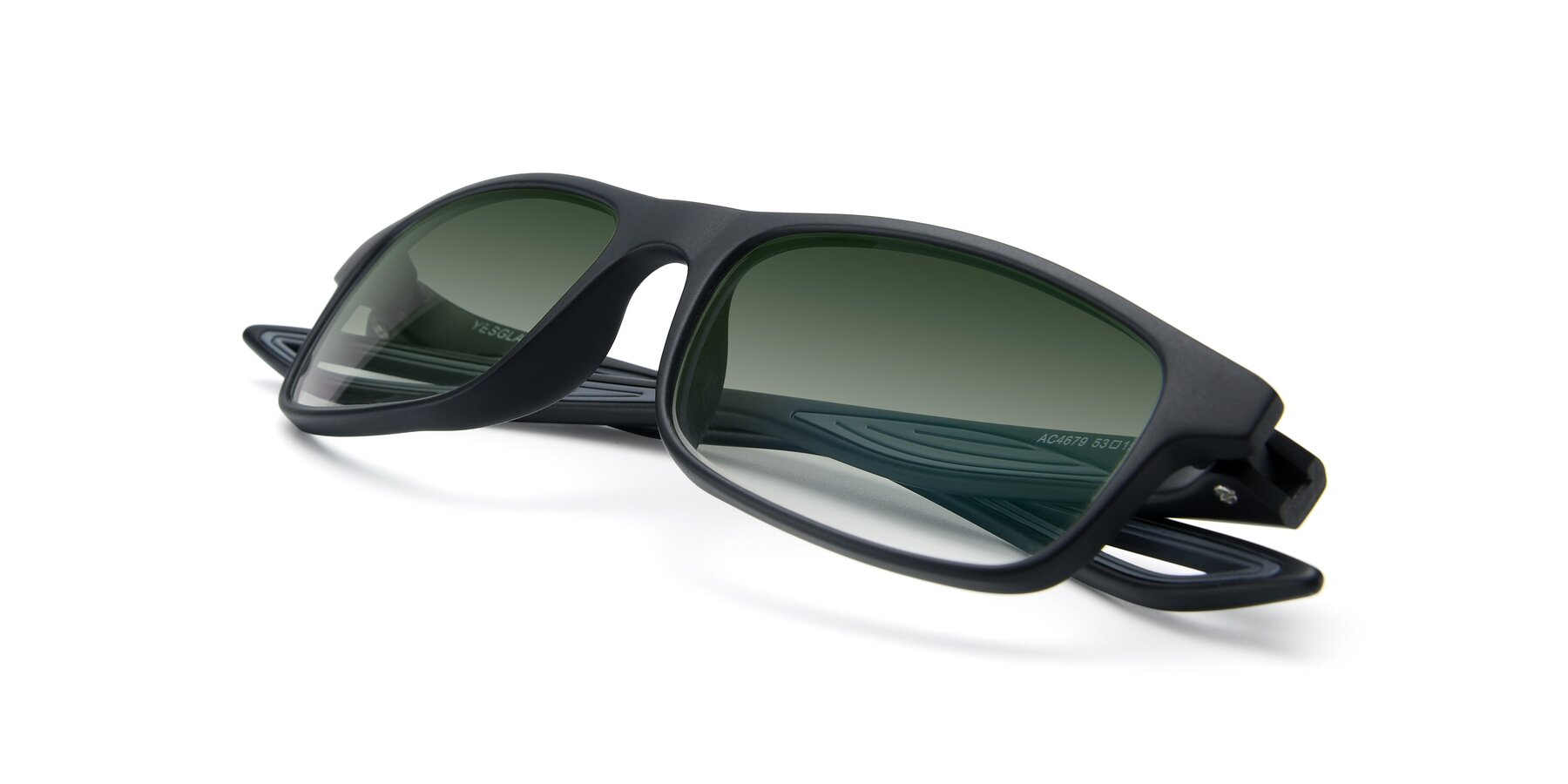 View of AC4679 in Matte Black-Gray with Green Gradient Lenses