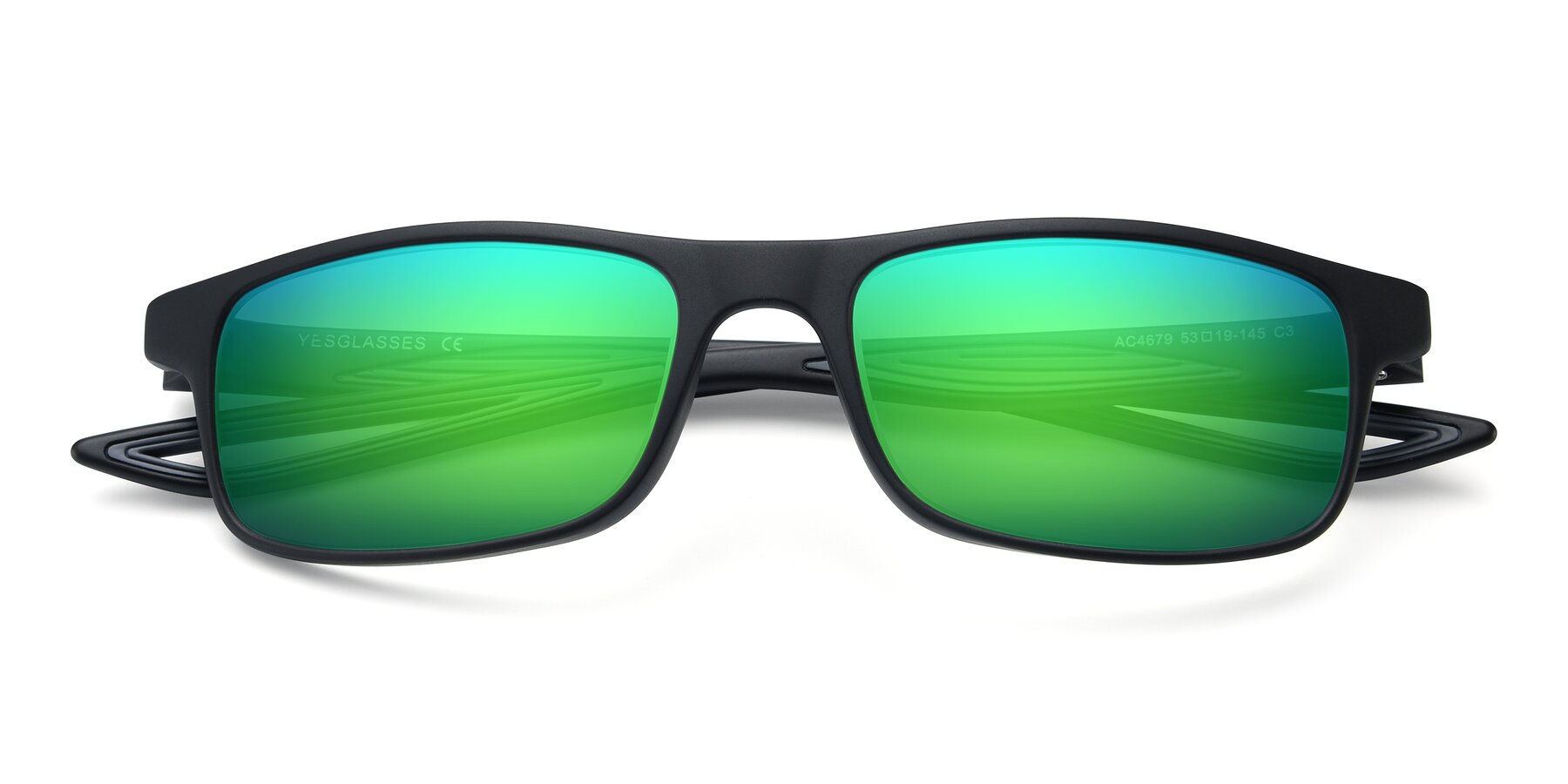 Folded Front of AC4679 in Matte Black-Gray with Green Mirrored Lenses