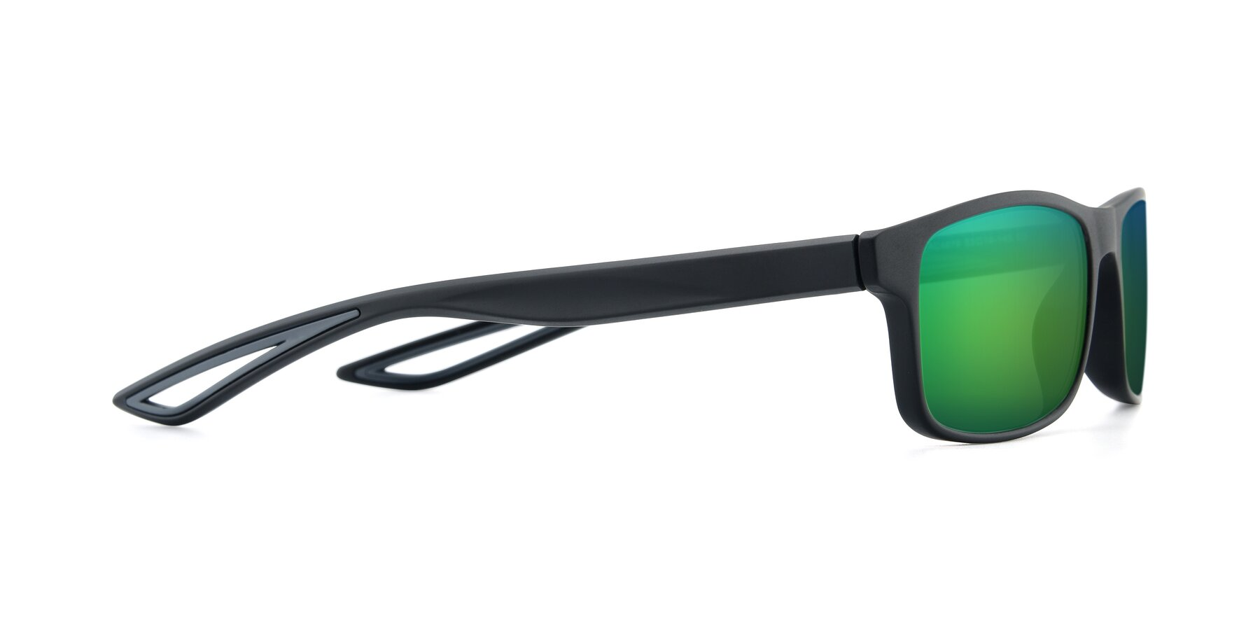 Side of AC4679 in Matte Black-Gray with Green Mirrored Lenses