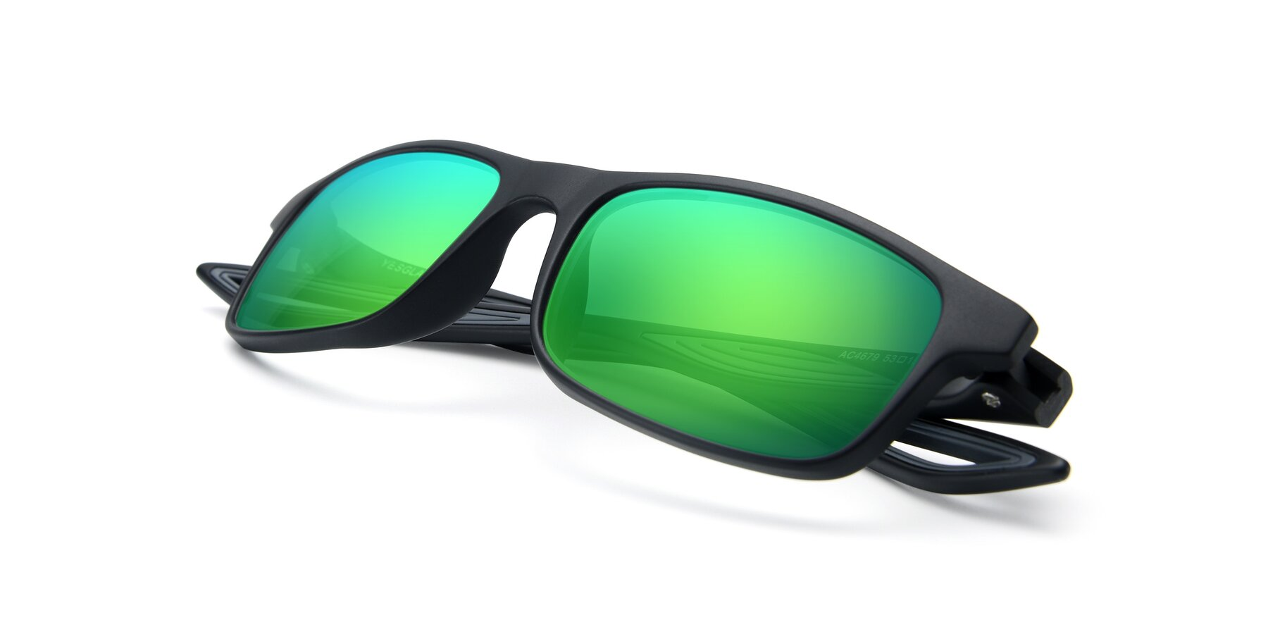 View of AC4679 in Matte Black-Gray with Green Mirrored Lenses