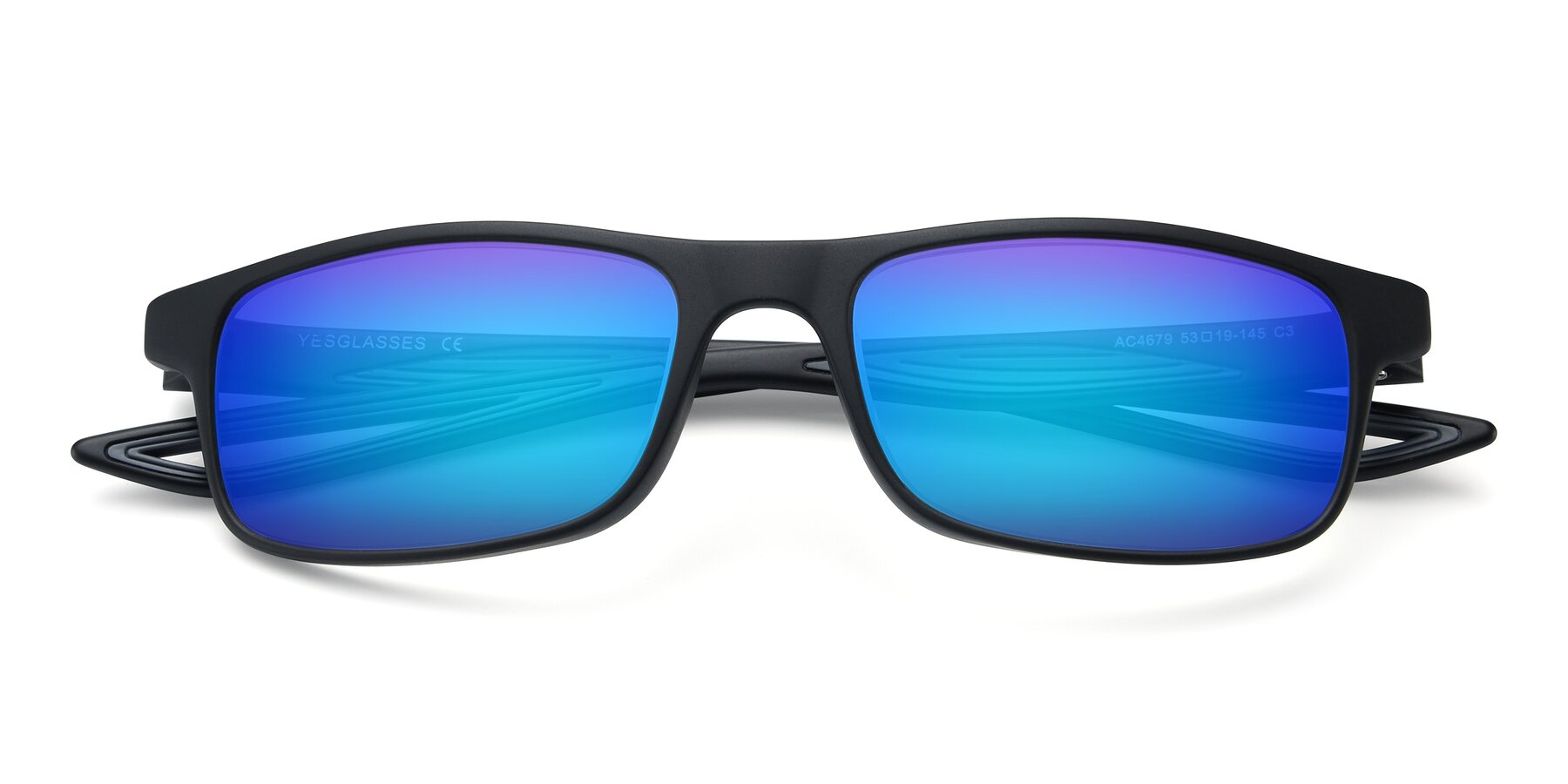 Folded Front of AC4679 in Matte Black-Gray with Blue Mirrored Lenses