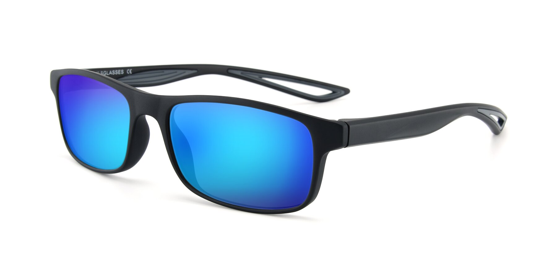 Angle of AC4679 in Matte Black-Gray with Blue Mirrored Lenses