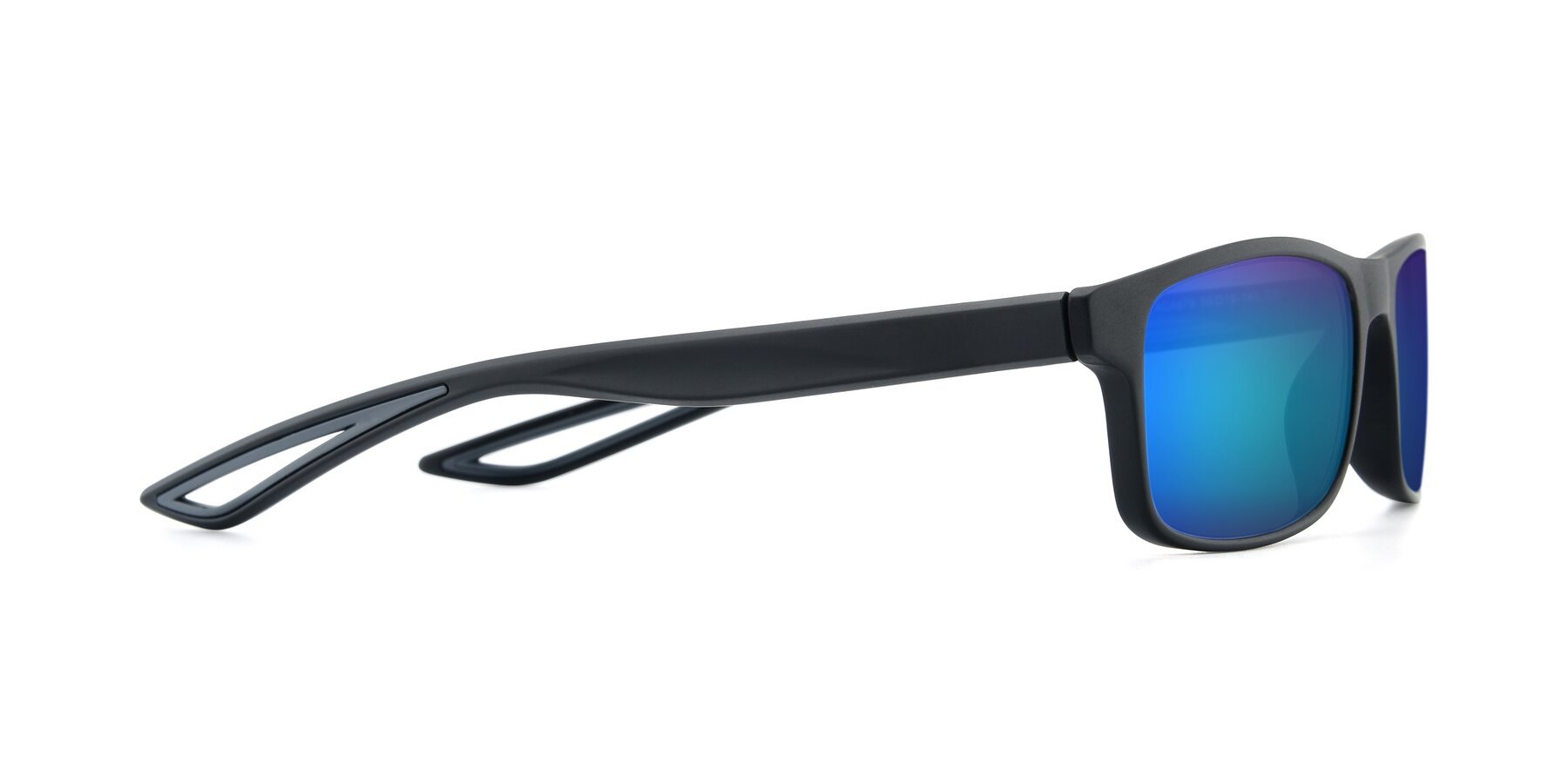 Side of AC4679 in Matte Black-Gray with Blue Mirrored Lenses