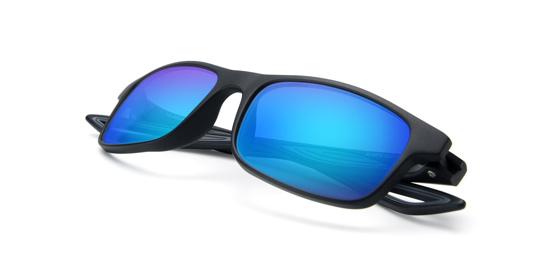 View of AC4679 in Matte Black-Gray with Blue Mirrored Lenses