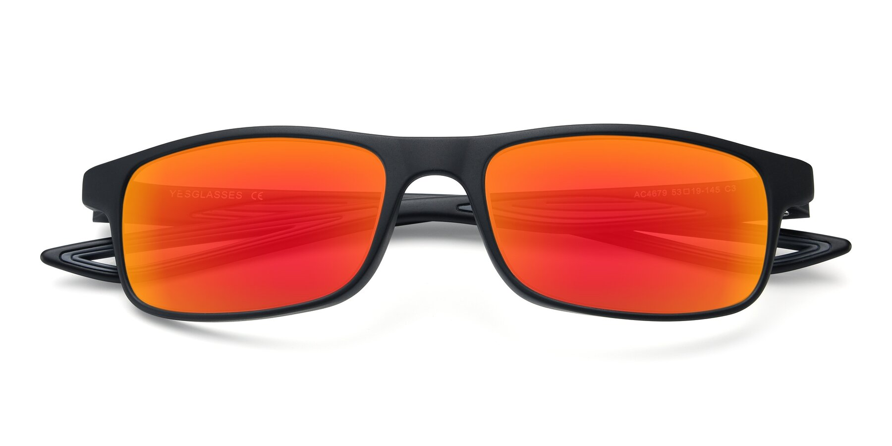 Folded Front of AC4679 in Matte Black-Gray with Red Gold Mirrored Lenses