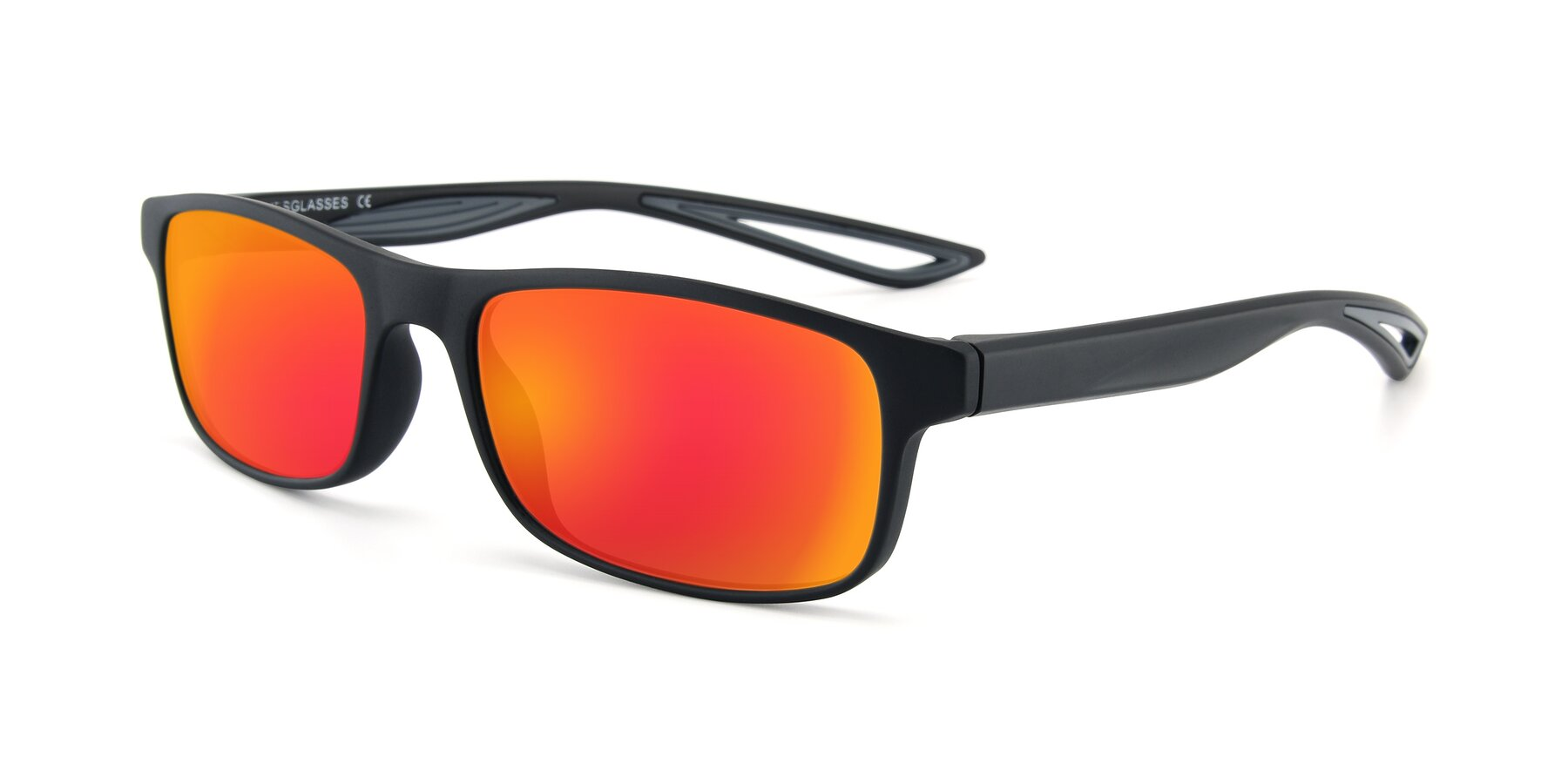 Angle of AC4679 in Matte Black-Gray with Red Gold Mirrored Lenses