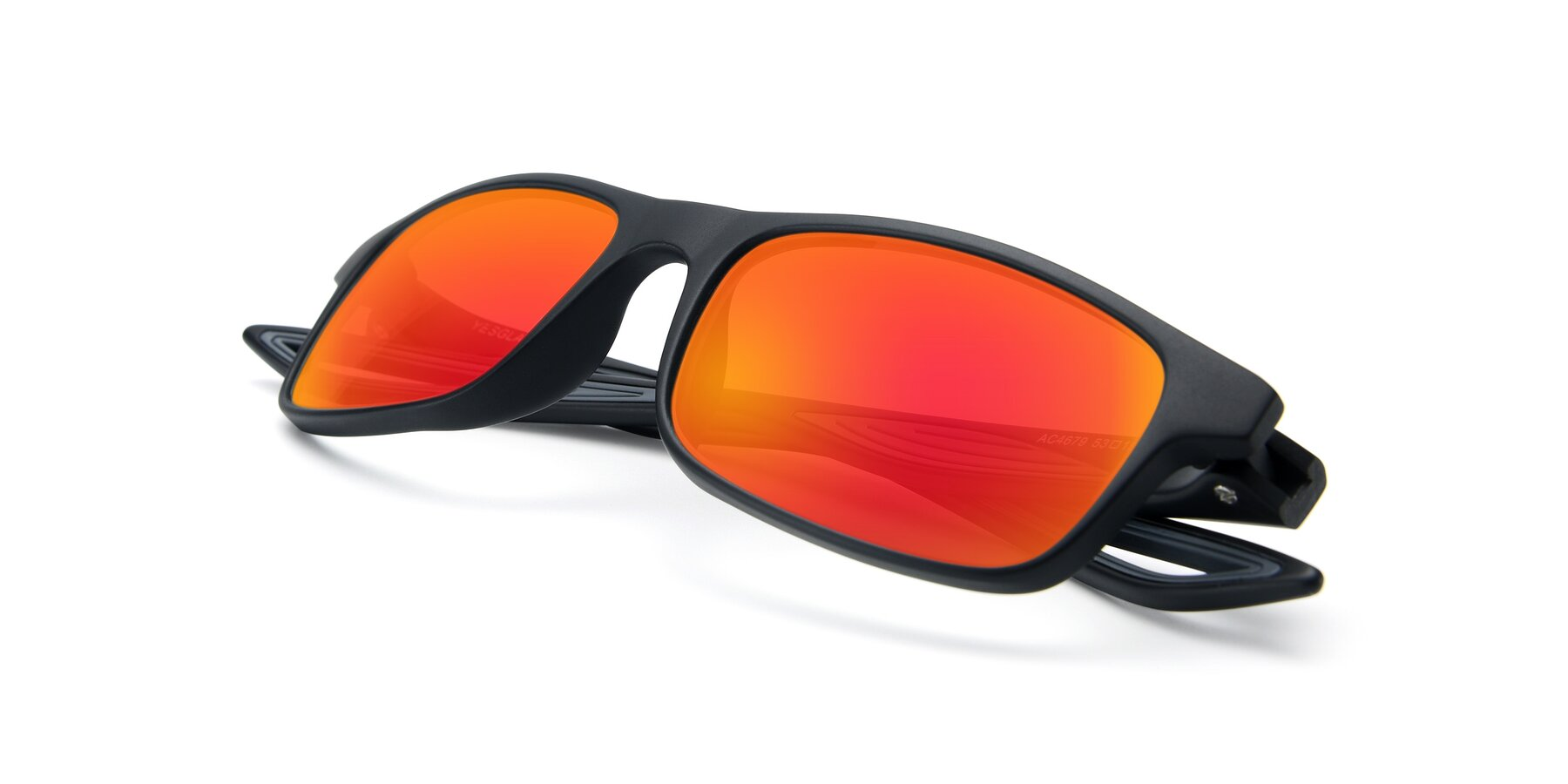 View of AC4679 in Matte Black-Gray with Red Gold Mirrored Lenses