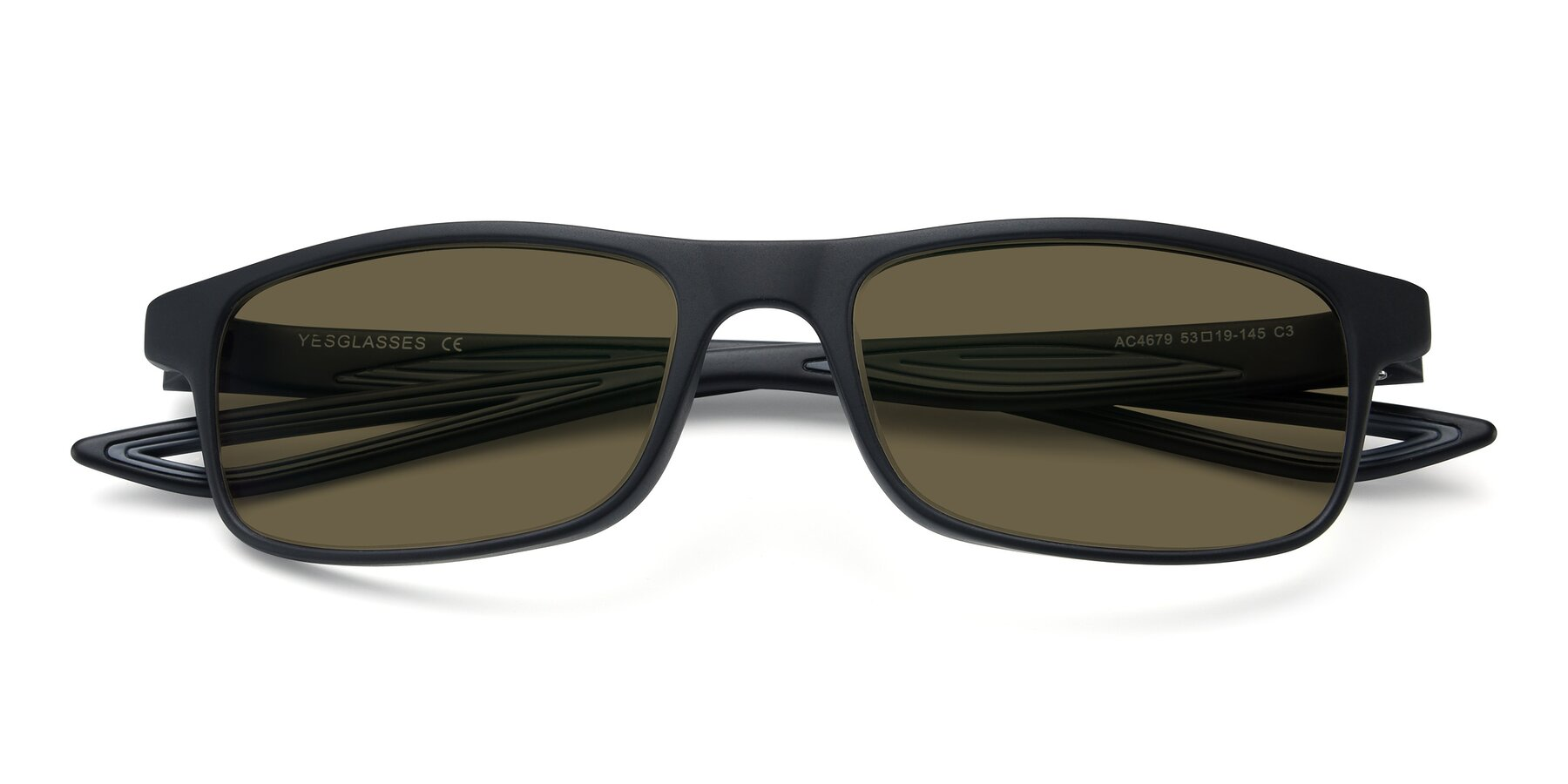 Folded Front of AC4679 in Matte Black-Gray with Brown Polarized Lenses