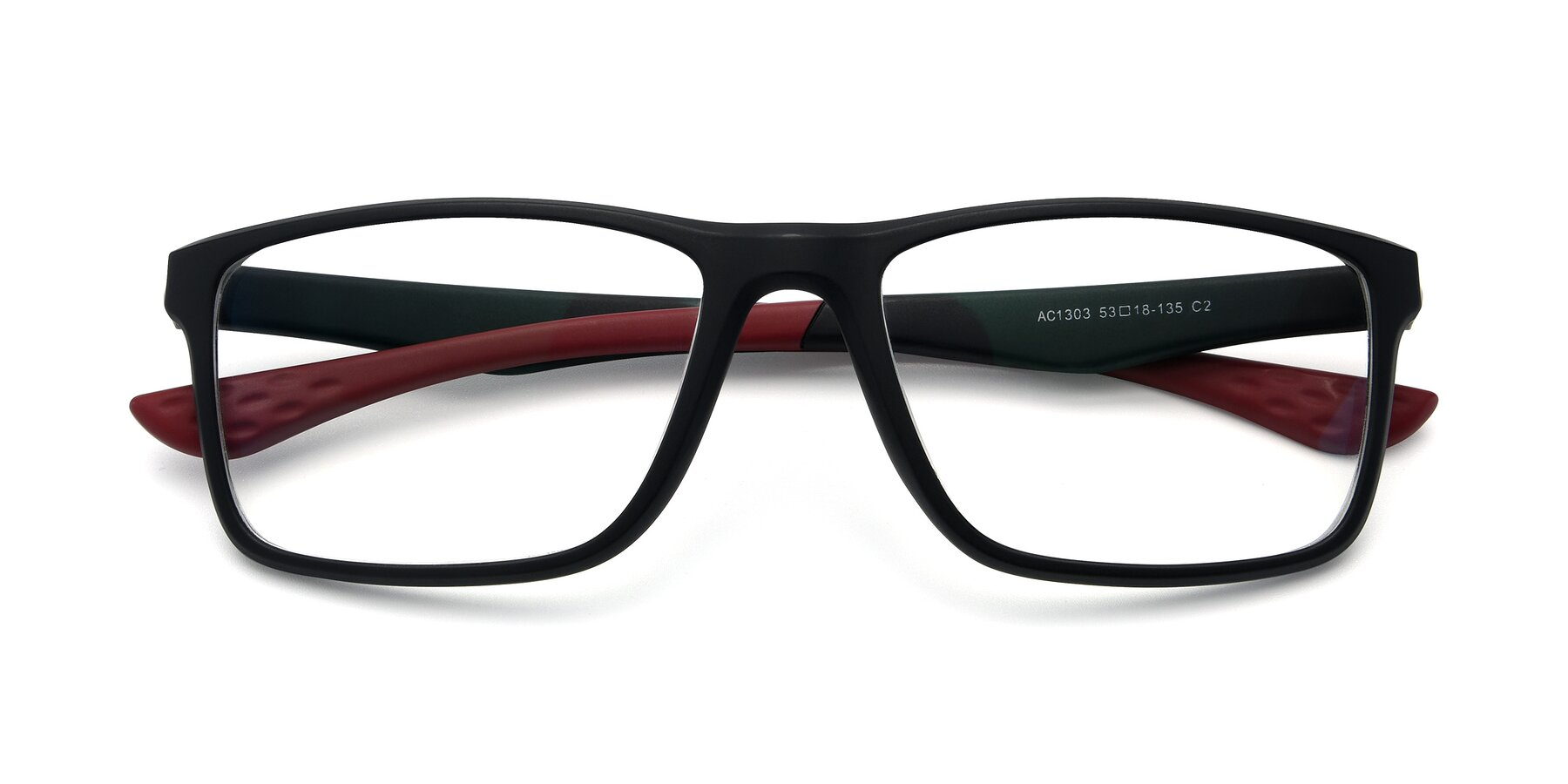 Folded Front of AC1303 in Matte Gray with Clear Eyeglass Lenses