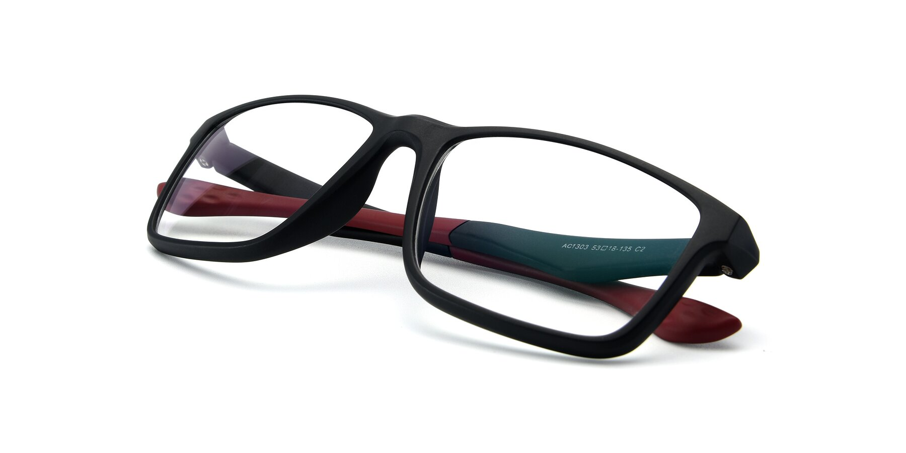 View of AC1303 in Matte Gray with Clear Eyeglass Lenses