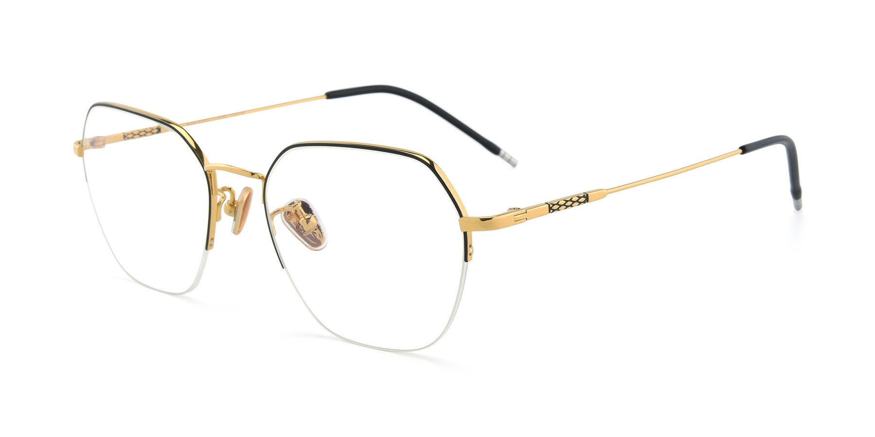 Angle of 90011 in Black-Gold with Clear Eyeglass Lenses