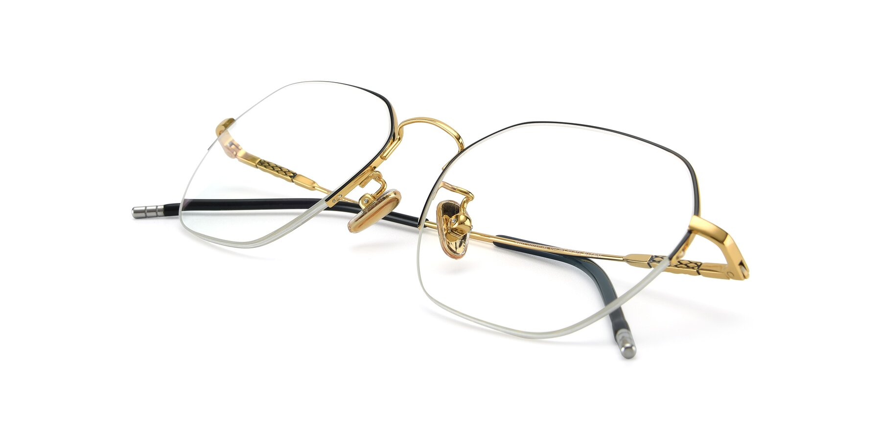 View of 90011 in Black-Gold with Clear Eyeglass Lenses
