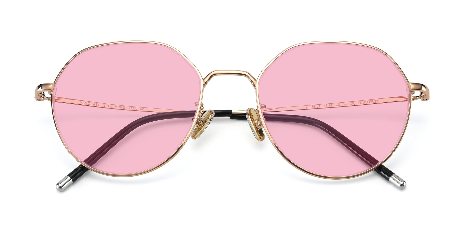 Folded Front of 90022 in Gold with Medium Pink Tinted Lenses