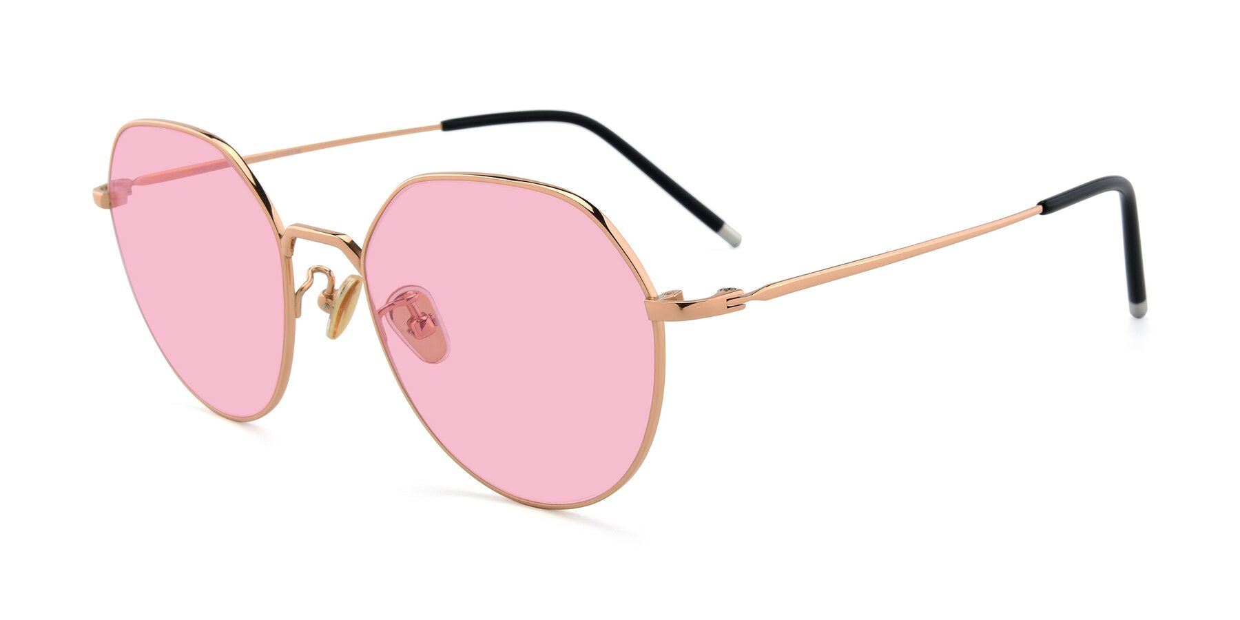 Angle of 90022 in Gold with Medium Pink Tinted Lenses