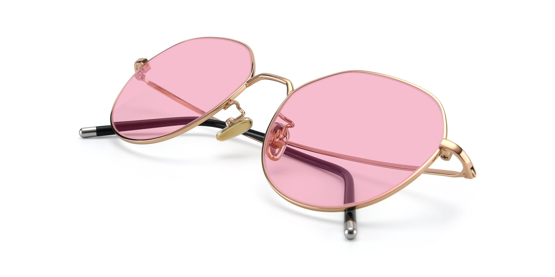 View of 90022 in Gold with Medium Pink Tinted Lenses