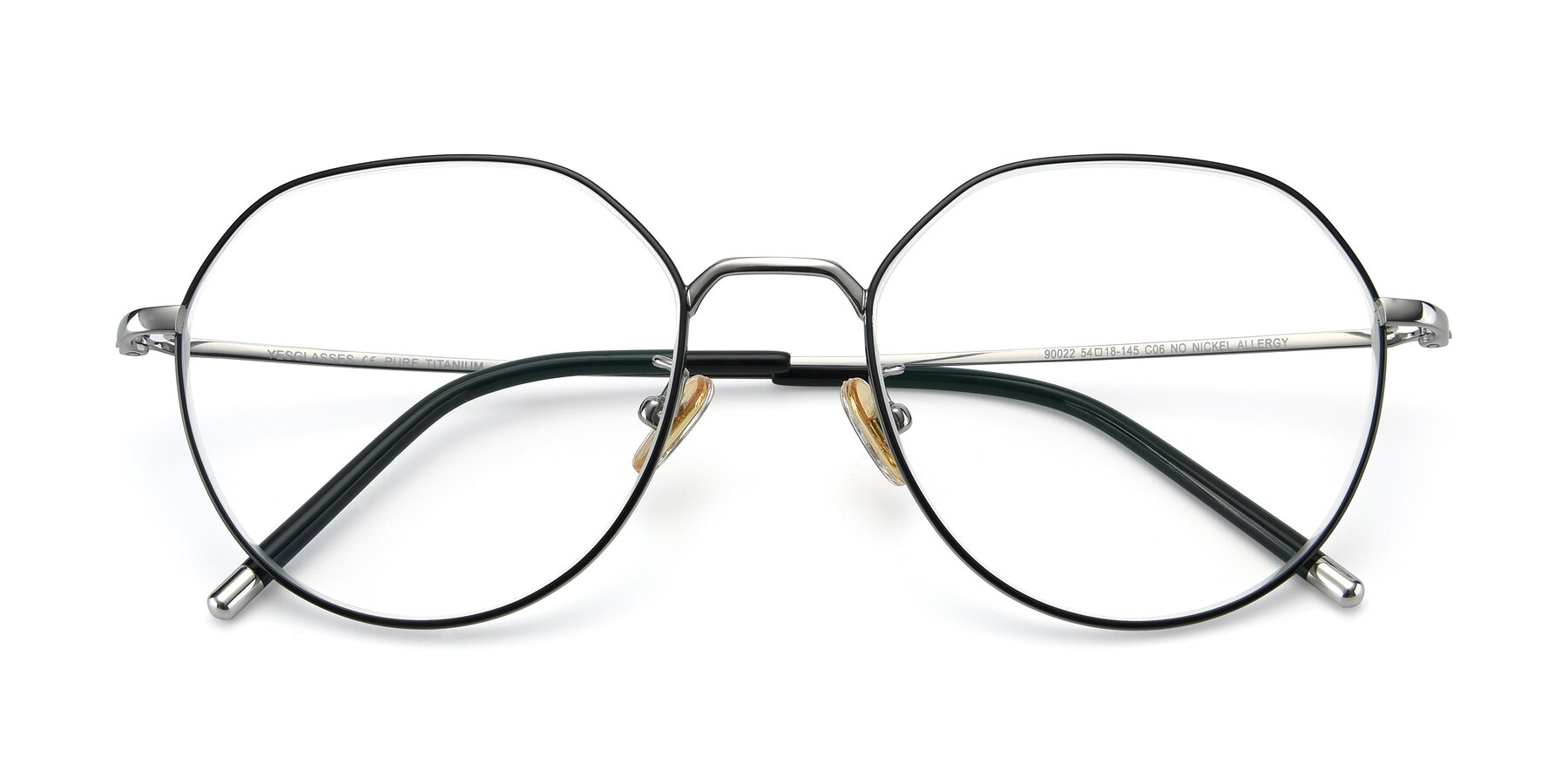 Folded Front of 90022 in Black-Silver with Clear Eyeglass Lenses