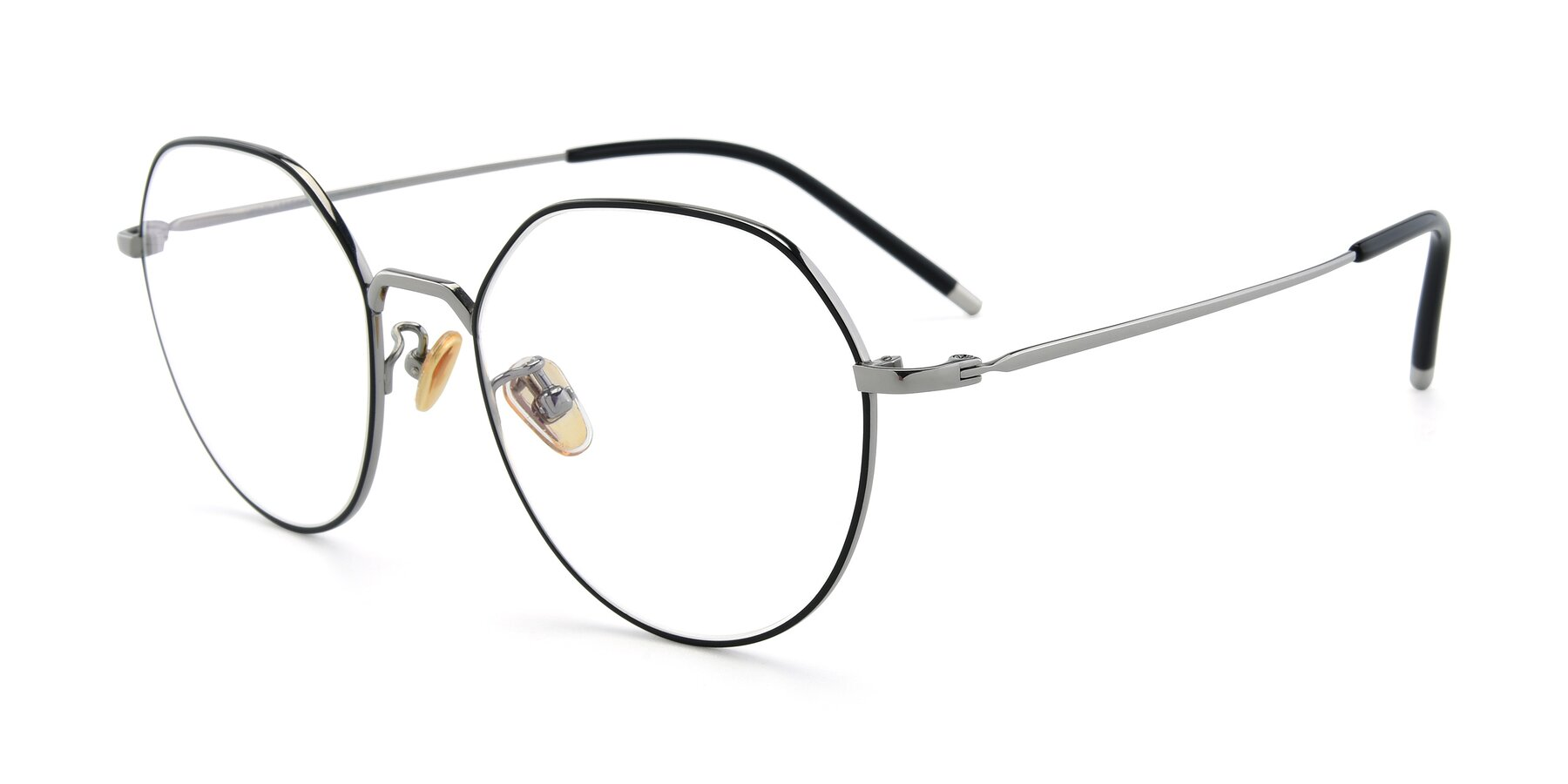 Angle of 90022 in Black-Silver with Clear Eyeglass Lenses