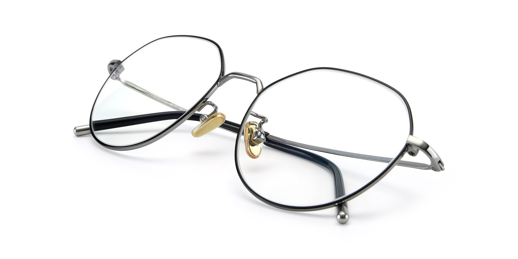 View of 90022 in Black-Silver with Clear Eyeglass Lenses