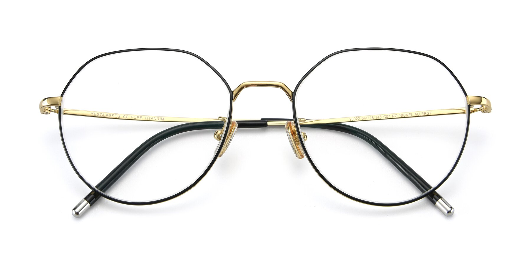 Folded Front of 90022 in Black-Gold with Clear Eyeglass Lenses