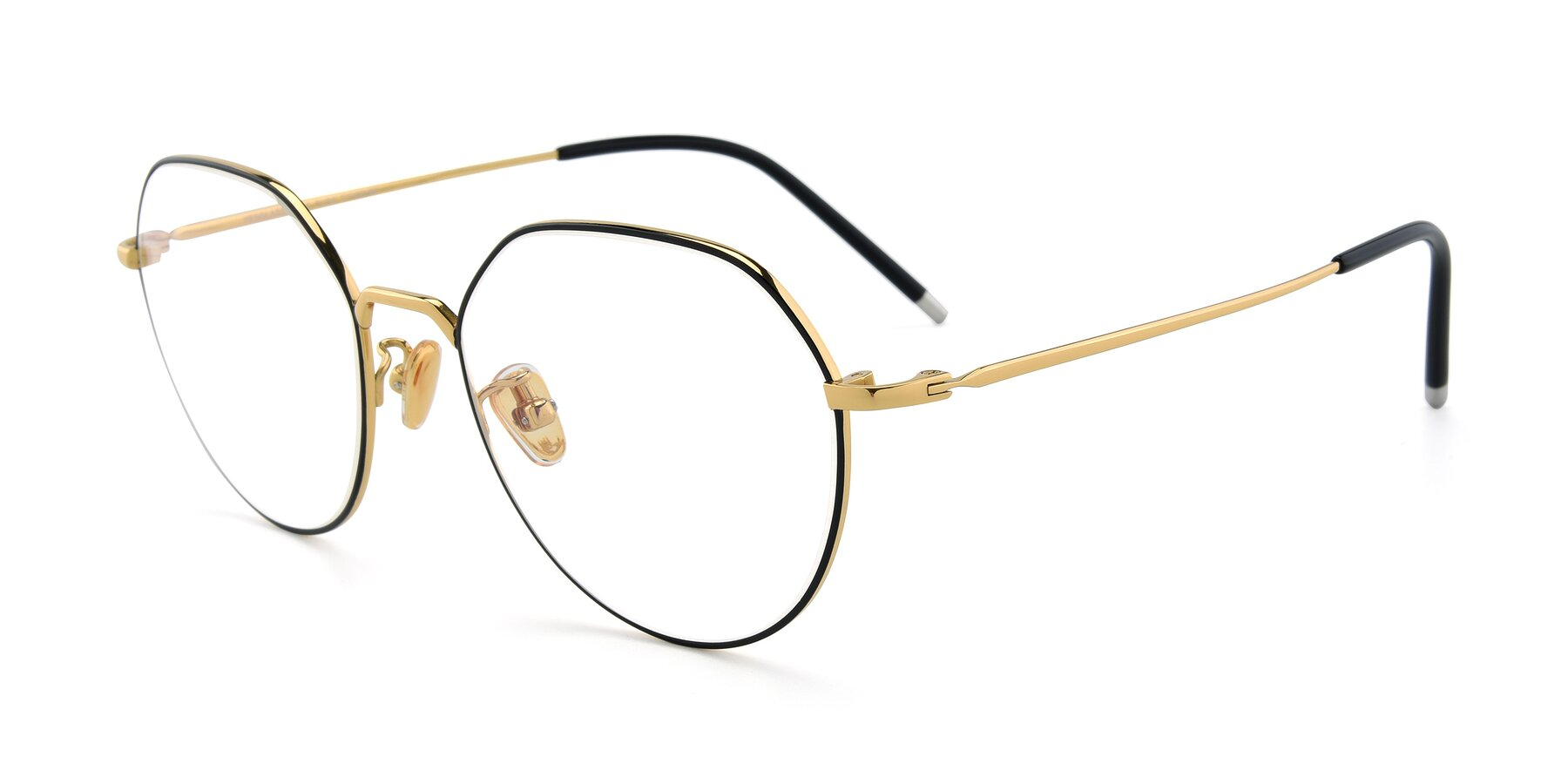 Angle of 90022 in Black-Gold with Clear Eyeglass Lenses