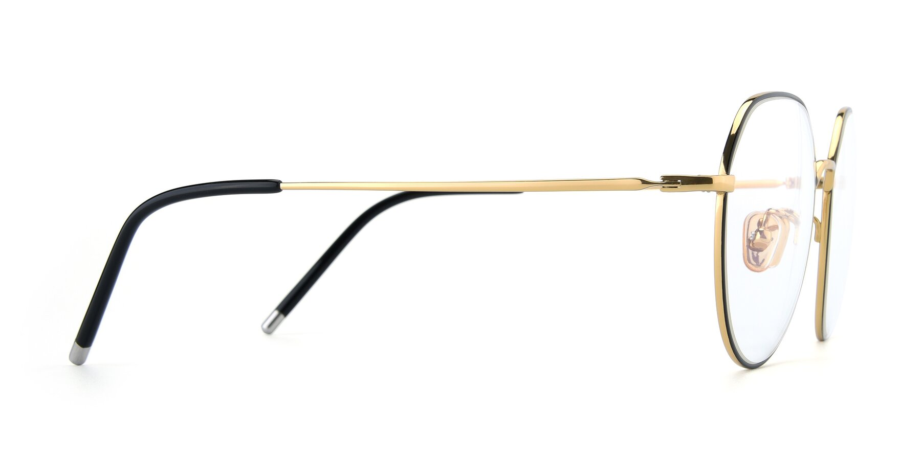 Side of 90022 in Black-Gold with Clear Eyeglass Lenses