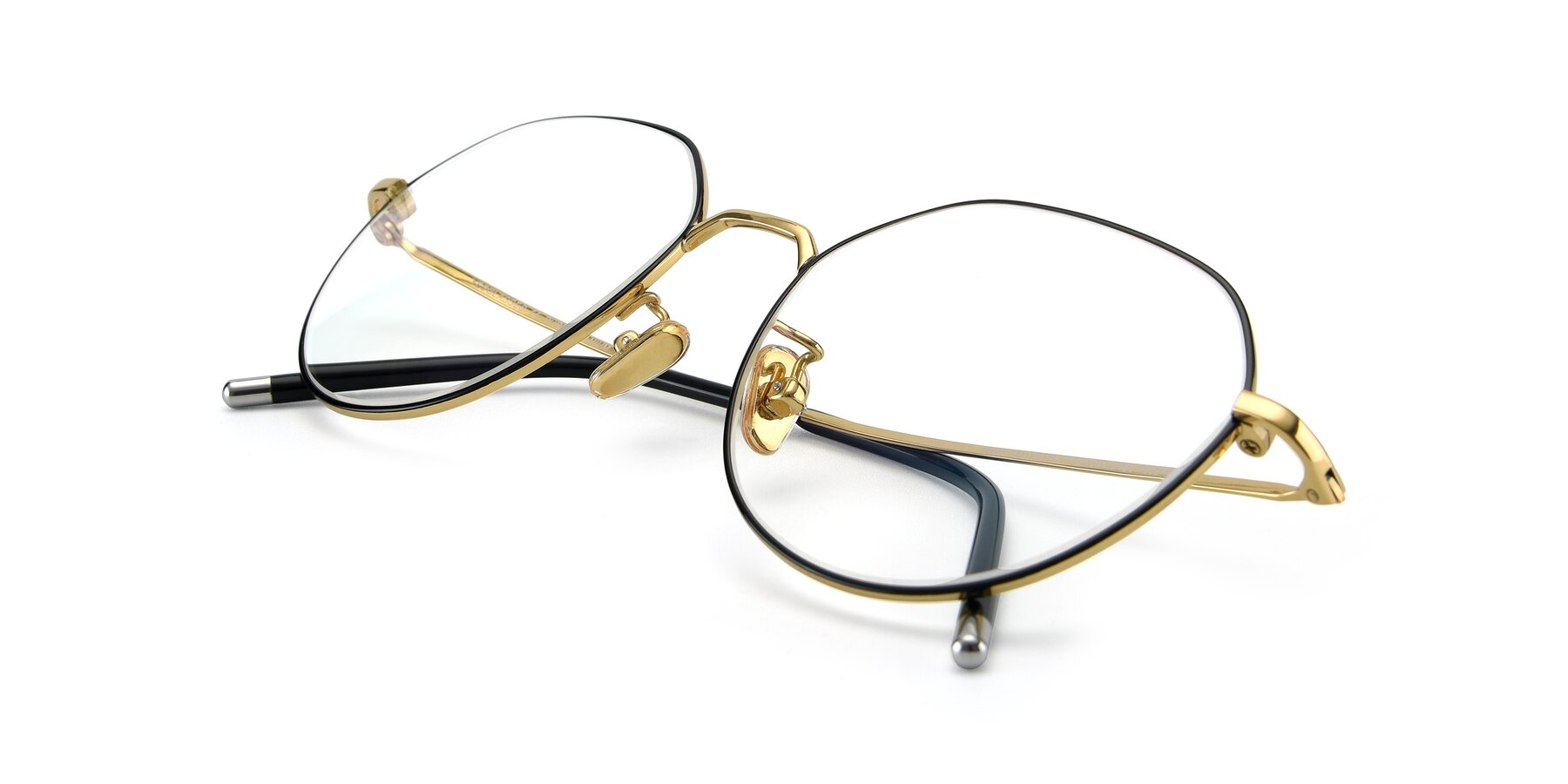 View of 90022 in Black-Gold with Clear Eyeglass Lenses