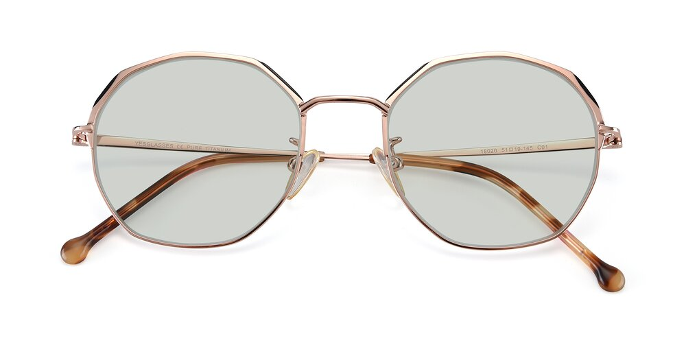 Rose Gold Hipster Browline Geometric Tinted Sunglasses With Light Green Sunwear Lenses