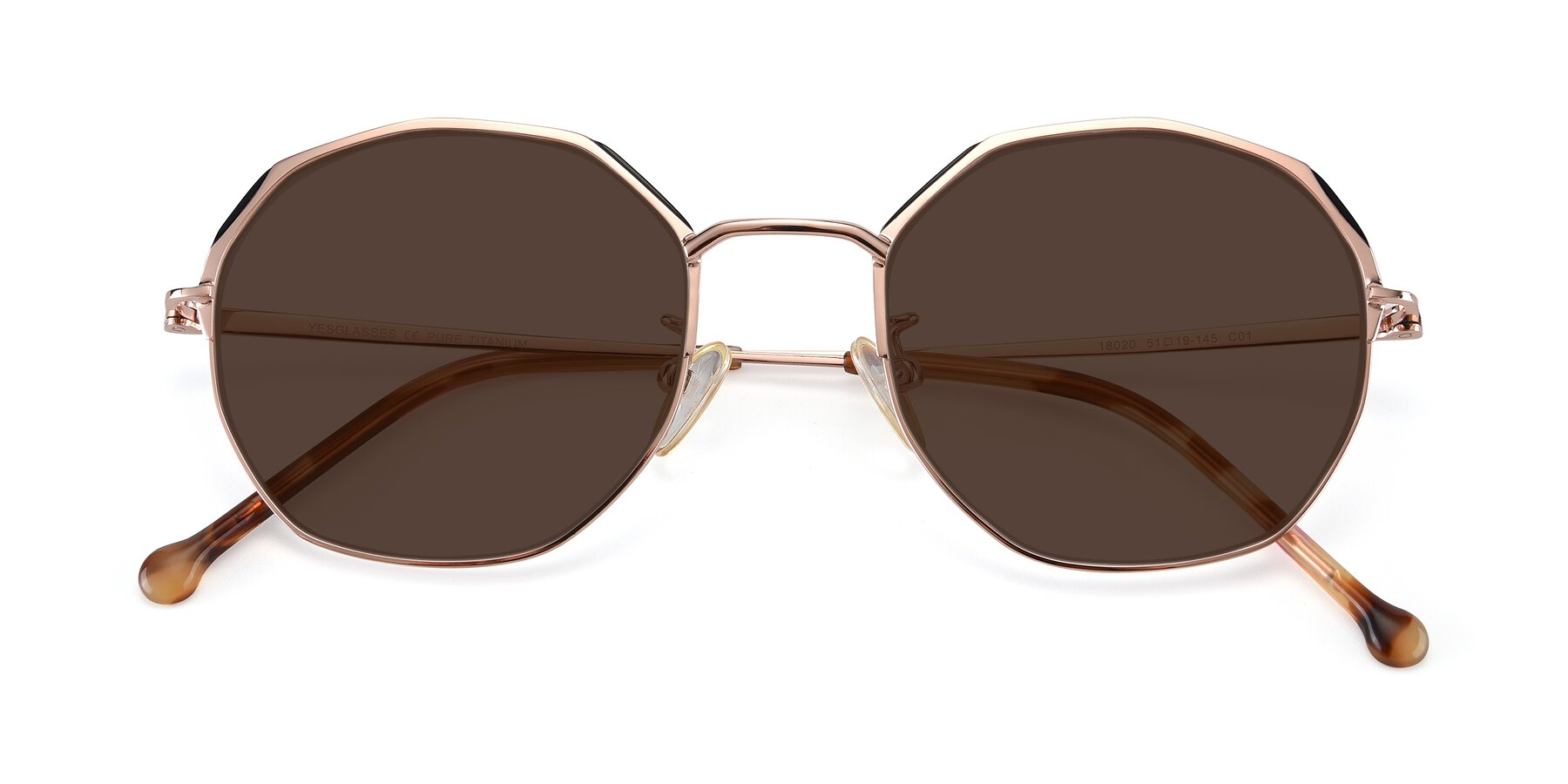Folded Front of 18020 in Rose Gold with Brown Tinted Lenses